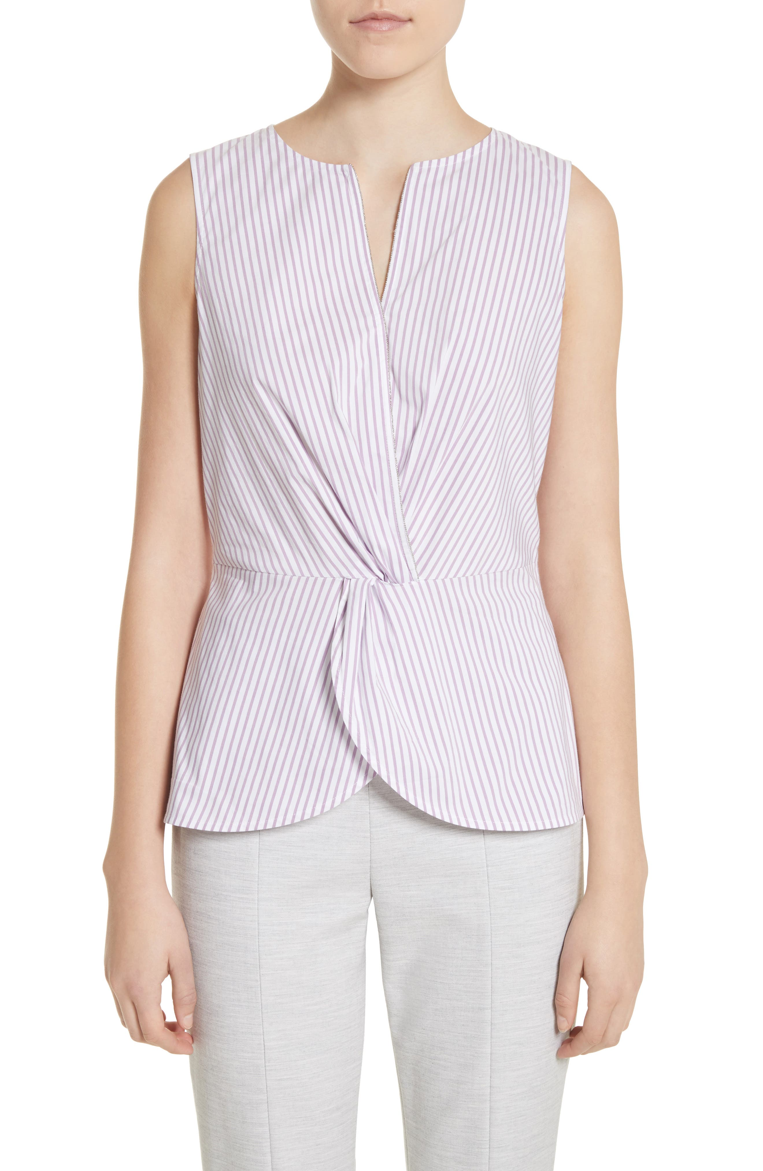 Pinstripe Twist Front Top,                             Main thumbnail 1, color,                             Orchid/ Bianco