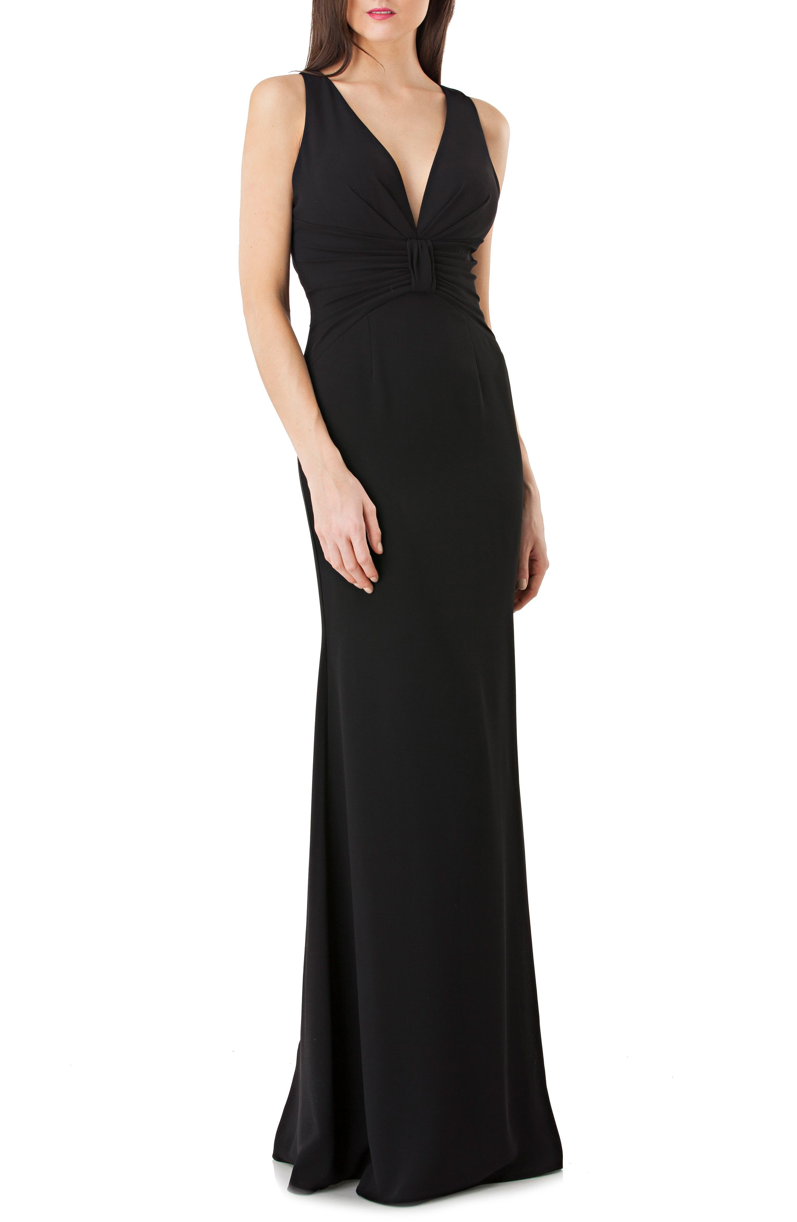 Back Cutout Crepe Gown,                             Main thumbnail 1, color,                             Black