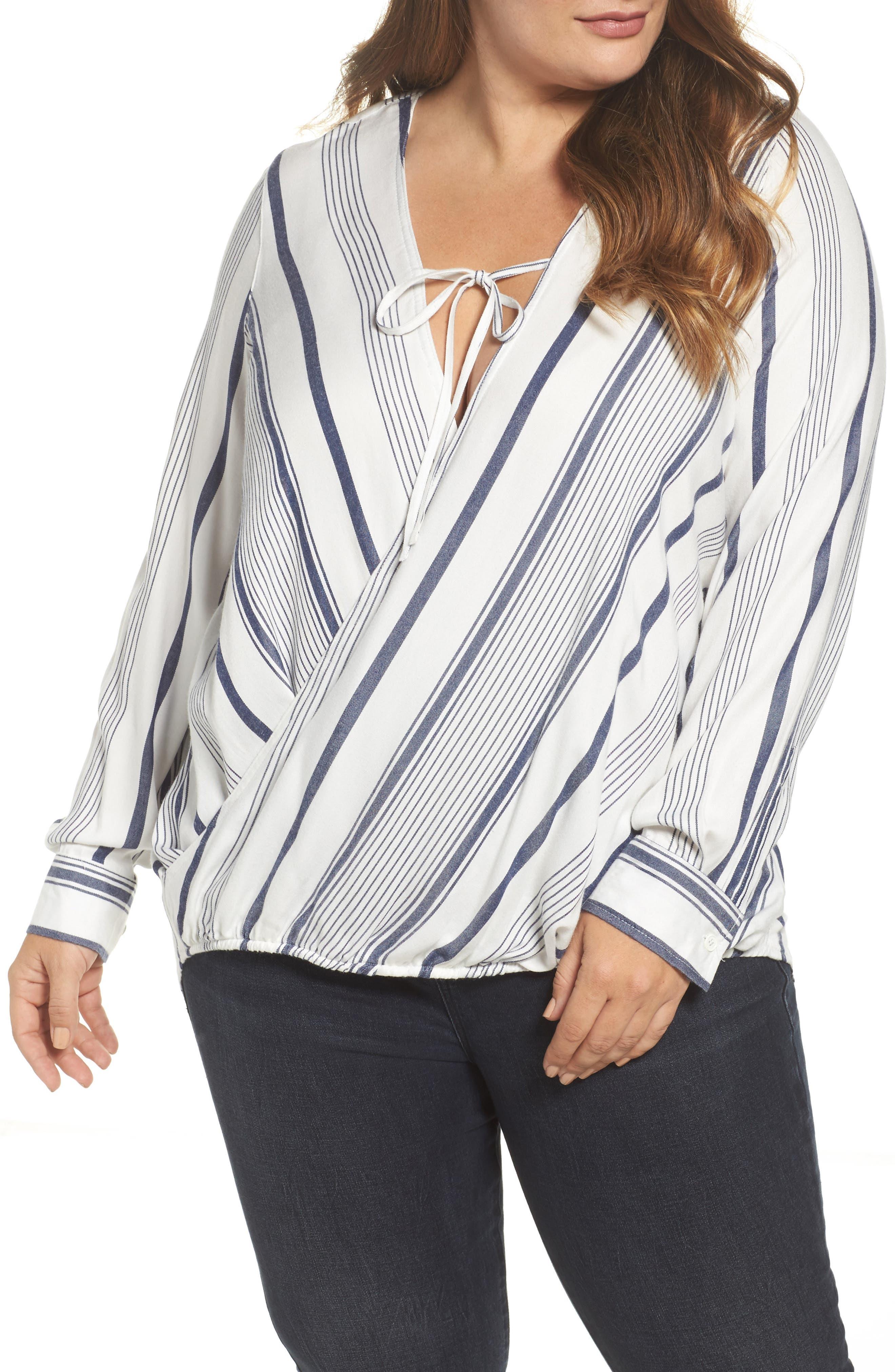 Alternate Image 1 Selected - Melissa McCarthy Seven7 Stripe Surplice Top (Plus Size)