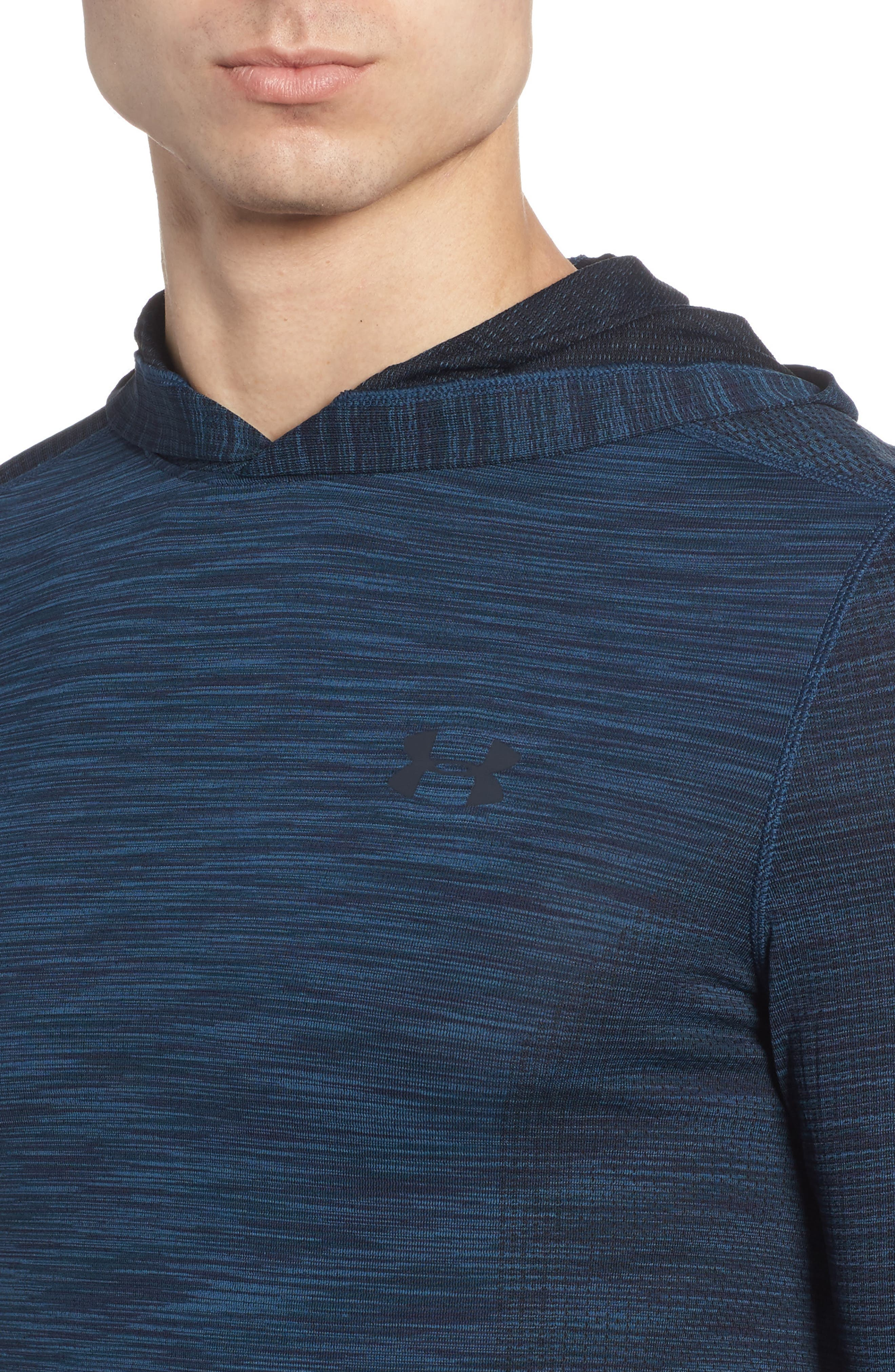 Threadbone Fitted Seamless Hoodie,                             Alternate thumbnail 4, color,                             True Ink/ Anthracite