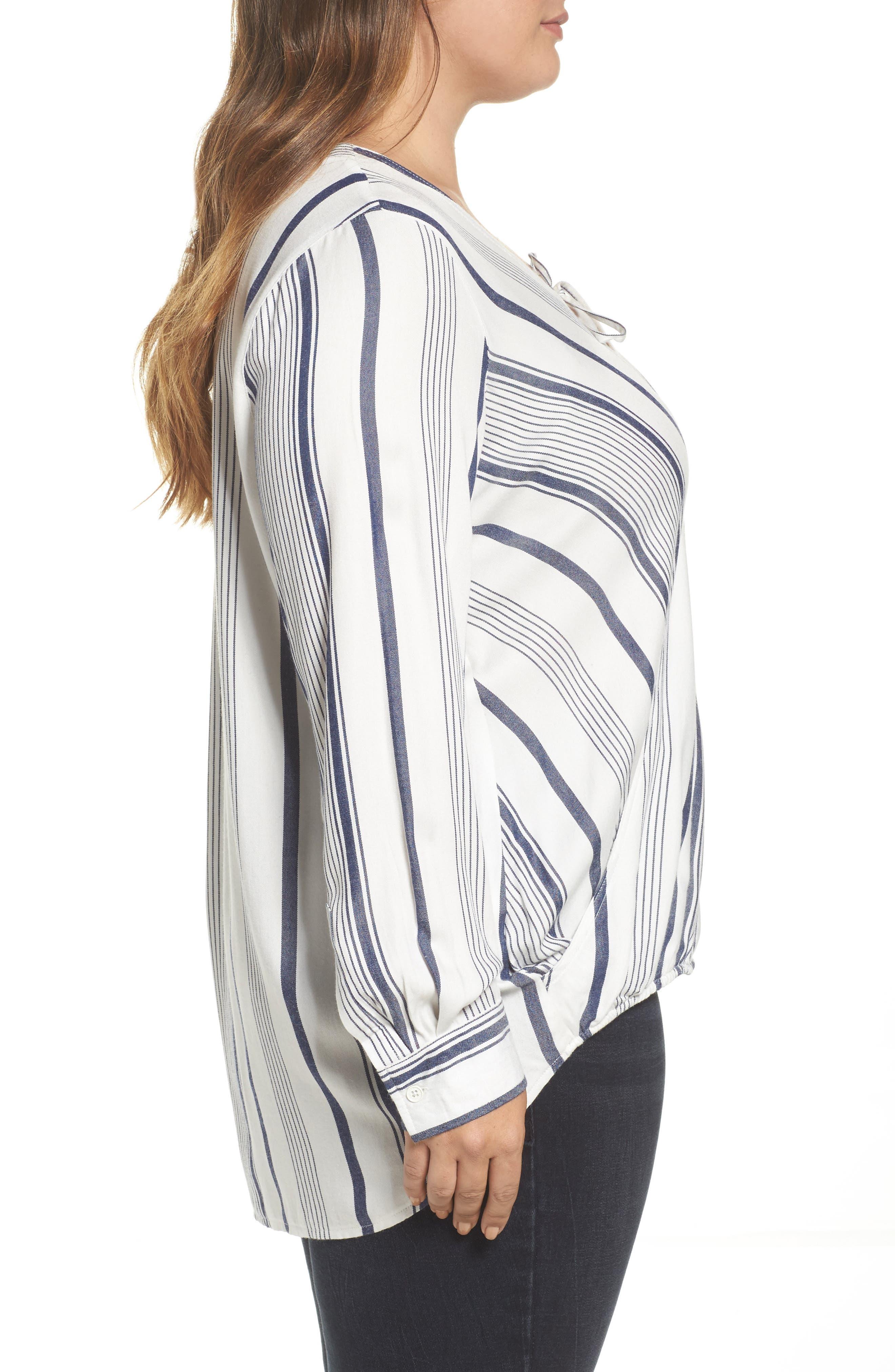 Alternate Image 3  - Melissa McCarthy Seven7 Stripe Surplice Top (Plus Size)