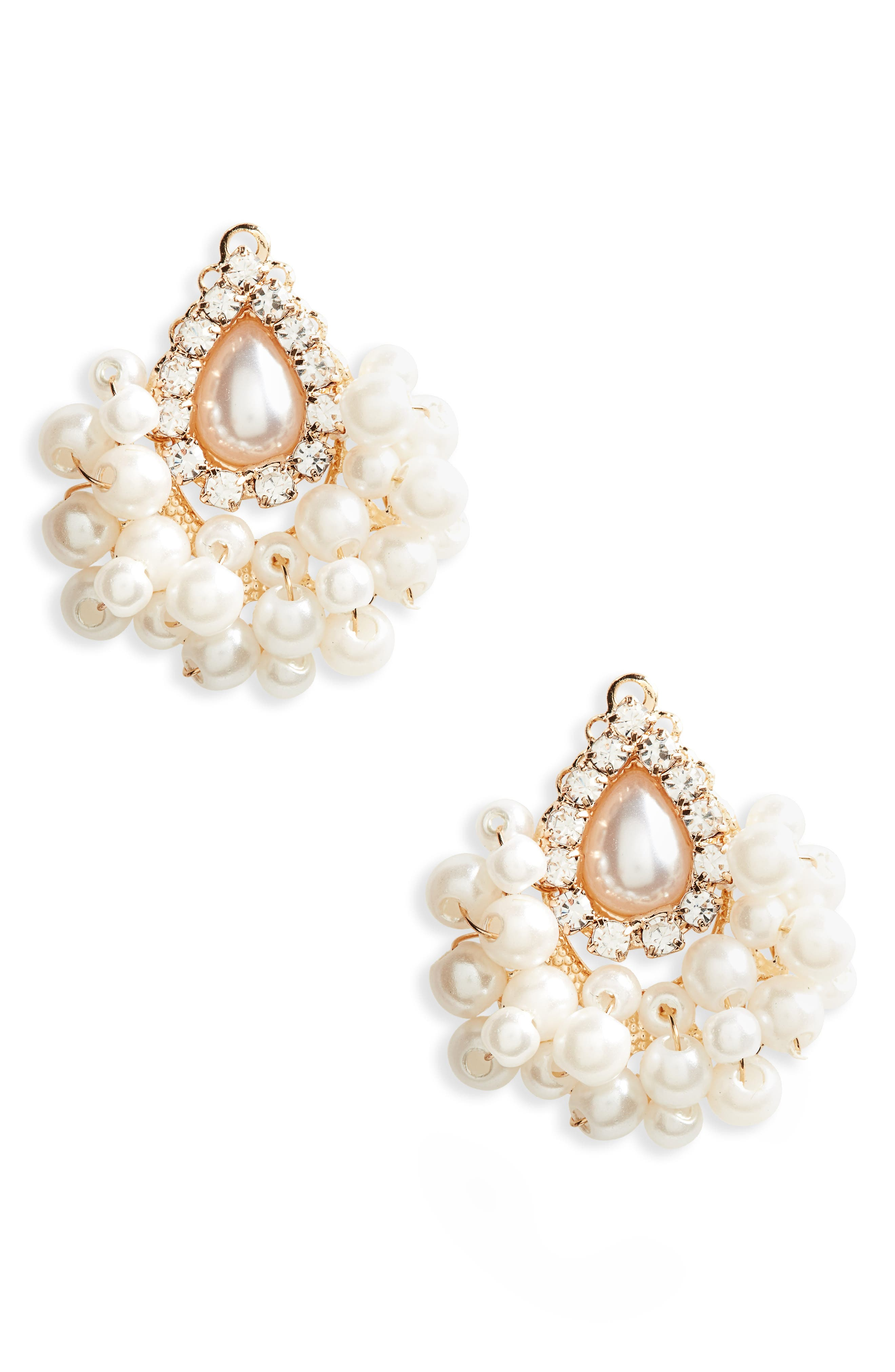 Imitation Pearl Cluster Earrings,                         Main,                         color, Gold/ White