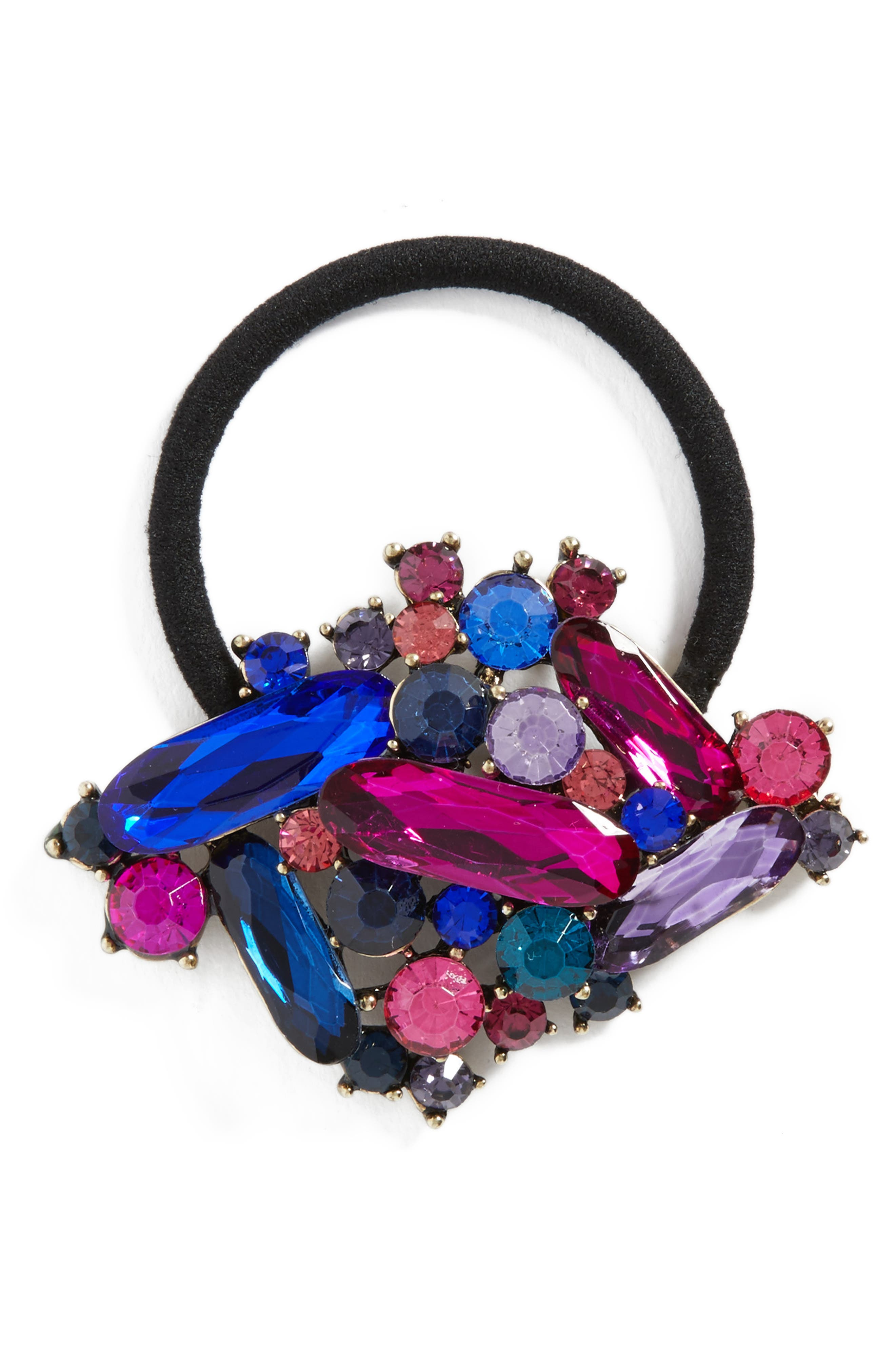 Crystal Embellished Ponytail Holder,                         Main,                         color, Pink Multi