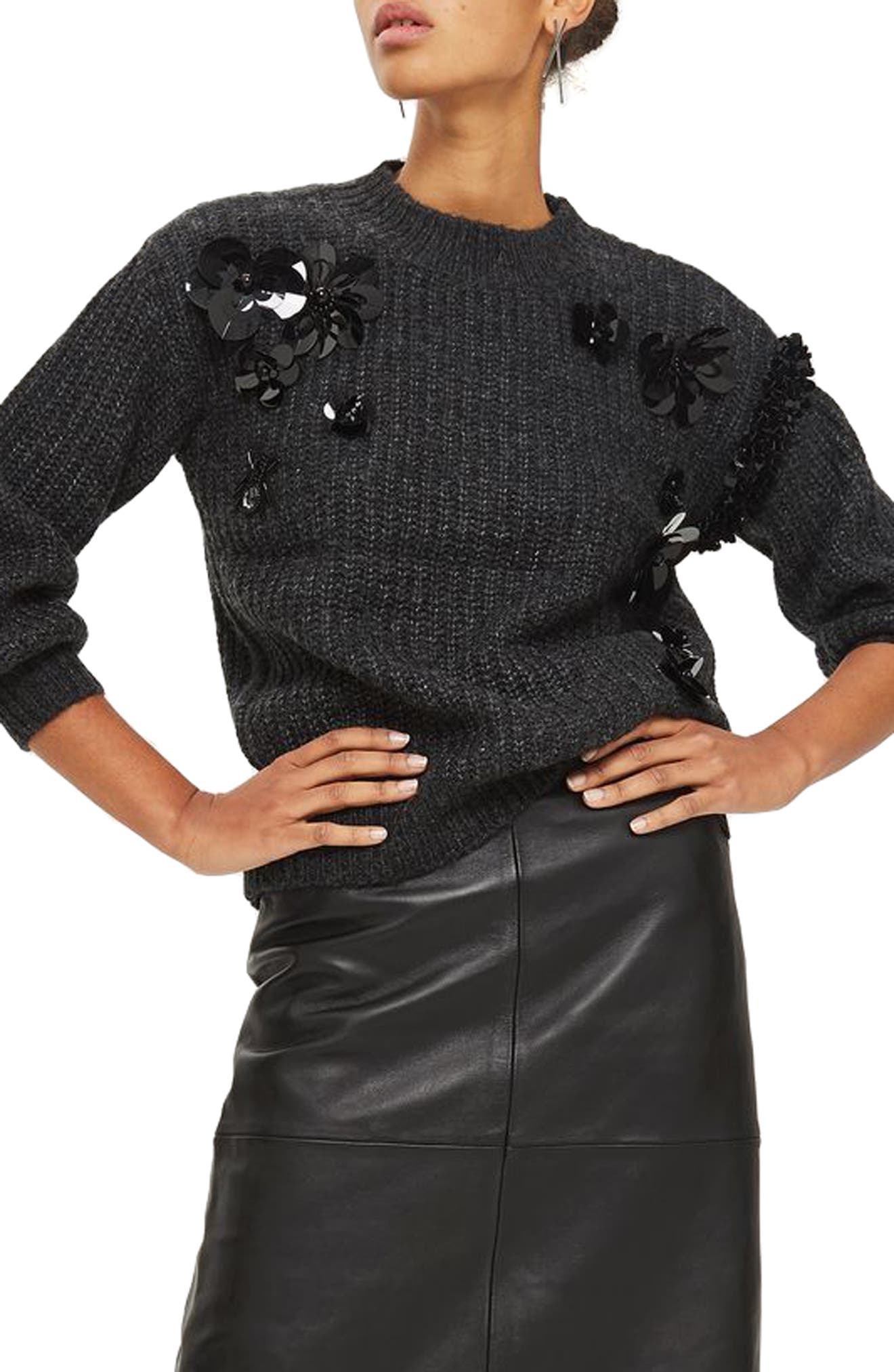 Cluster Embellished Sweater,                             Main thumbnail 1, color,                             Charcoal