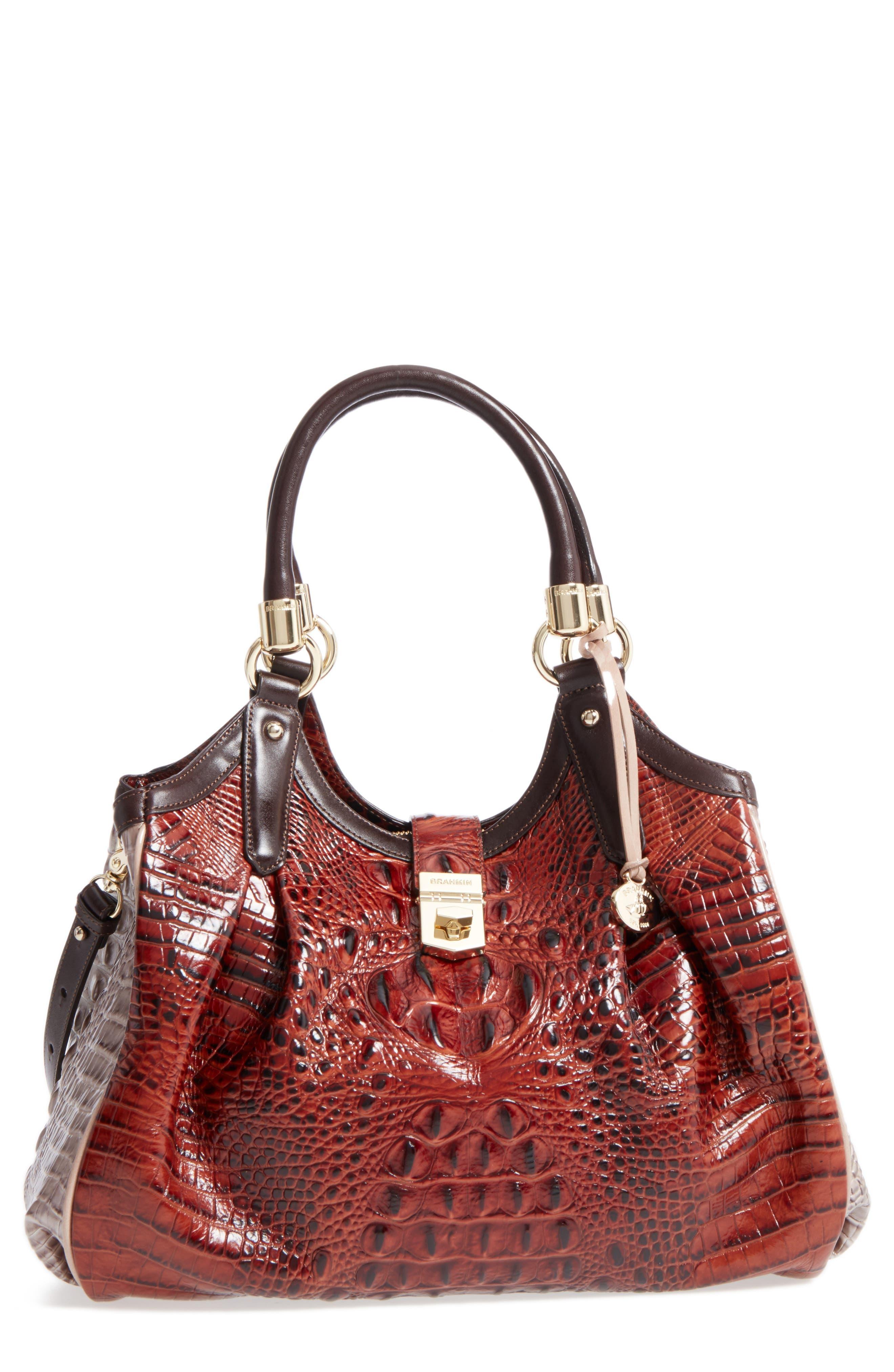 Elisa Croc Embossed Leather Shoulder Bag,                             Main thumbnail 1, color,                             Pecan