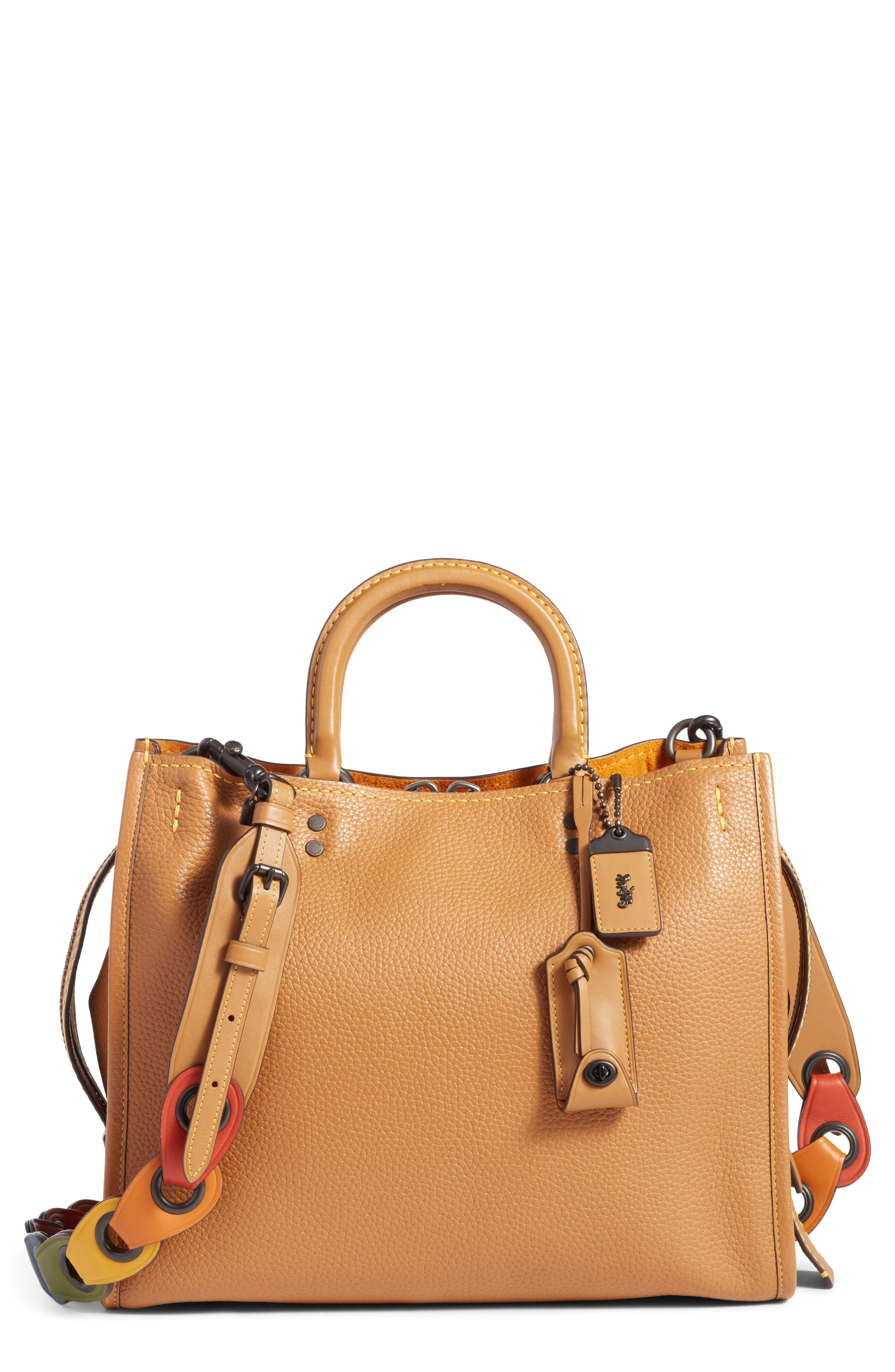Rogue - Rainbow Link Calfskin Leather Satchel,                             Main thumbnail 1, color,                             Light Saddle Multi
