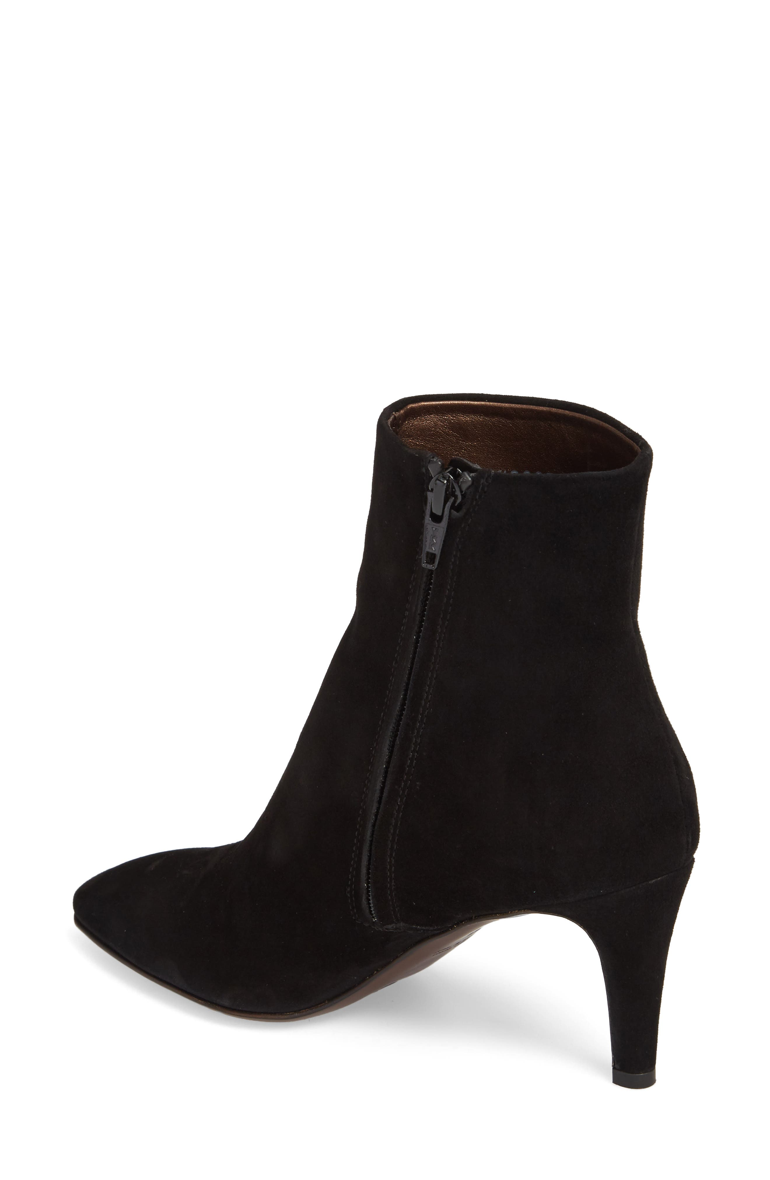 Pointy Toe Bootie,                             Alternate thumbnail 2, color,                             Black Suede