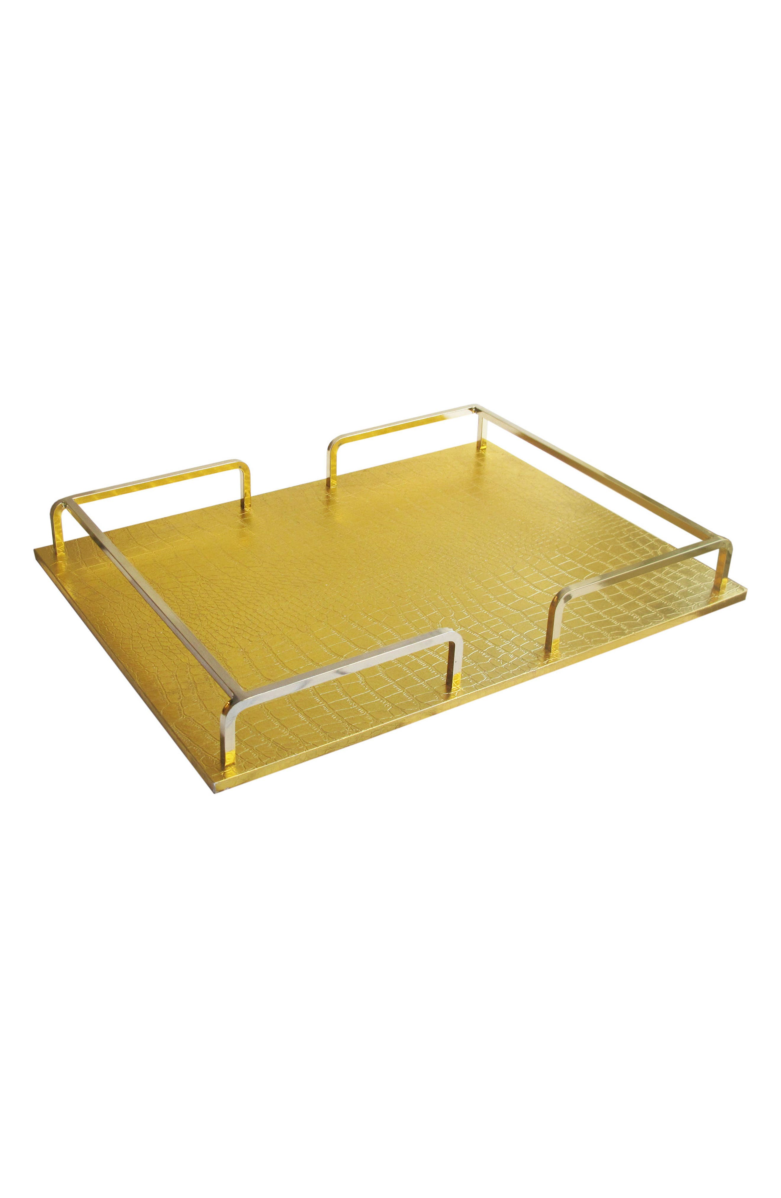 Croc-Embossed Serving Tray,                             Main thumbnail 1, color,                             Gold