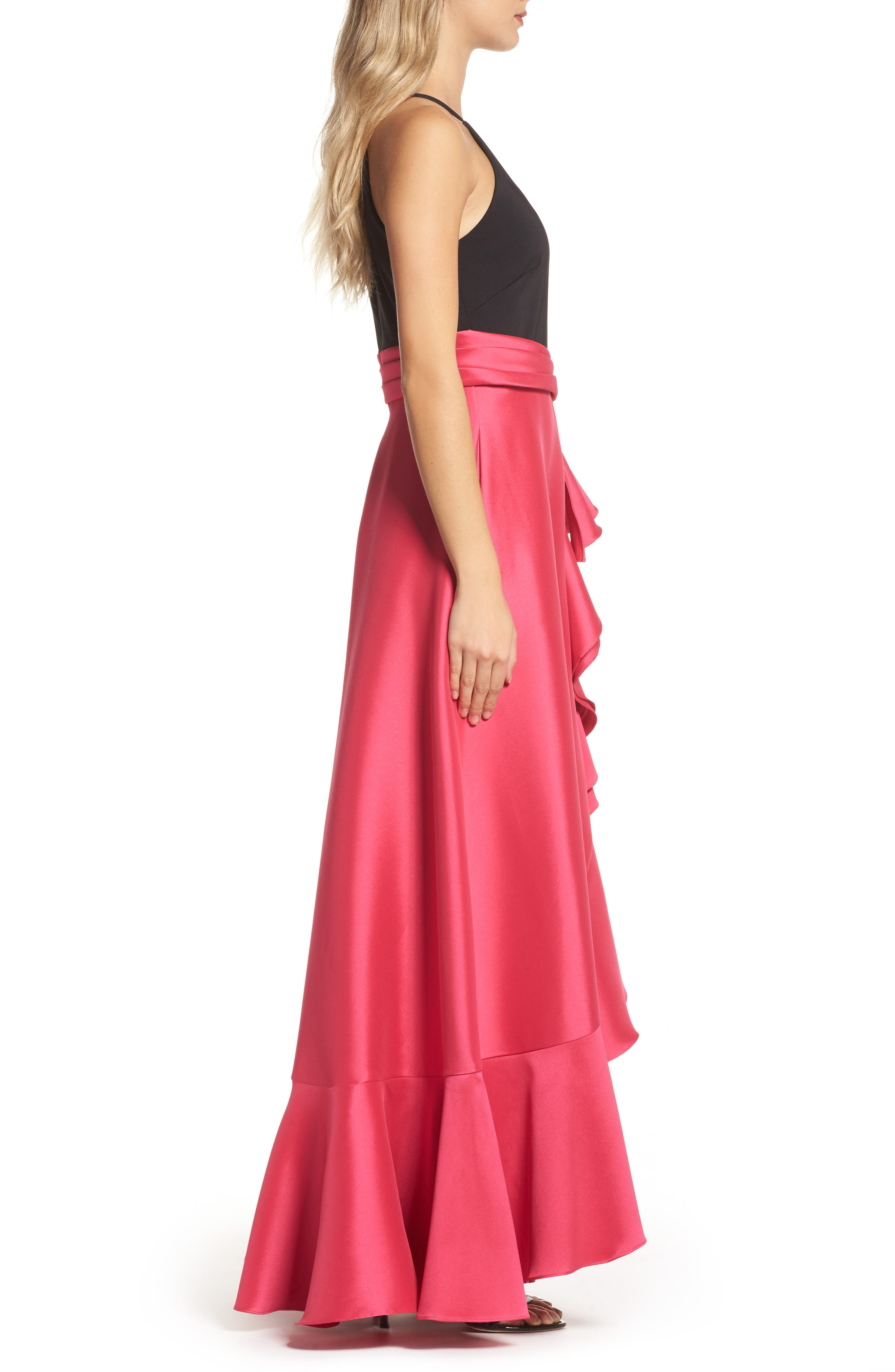 Two-Tone Ruffle Gown,                             Alternate thumbnail 3, color,                             Black Raspberry