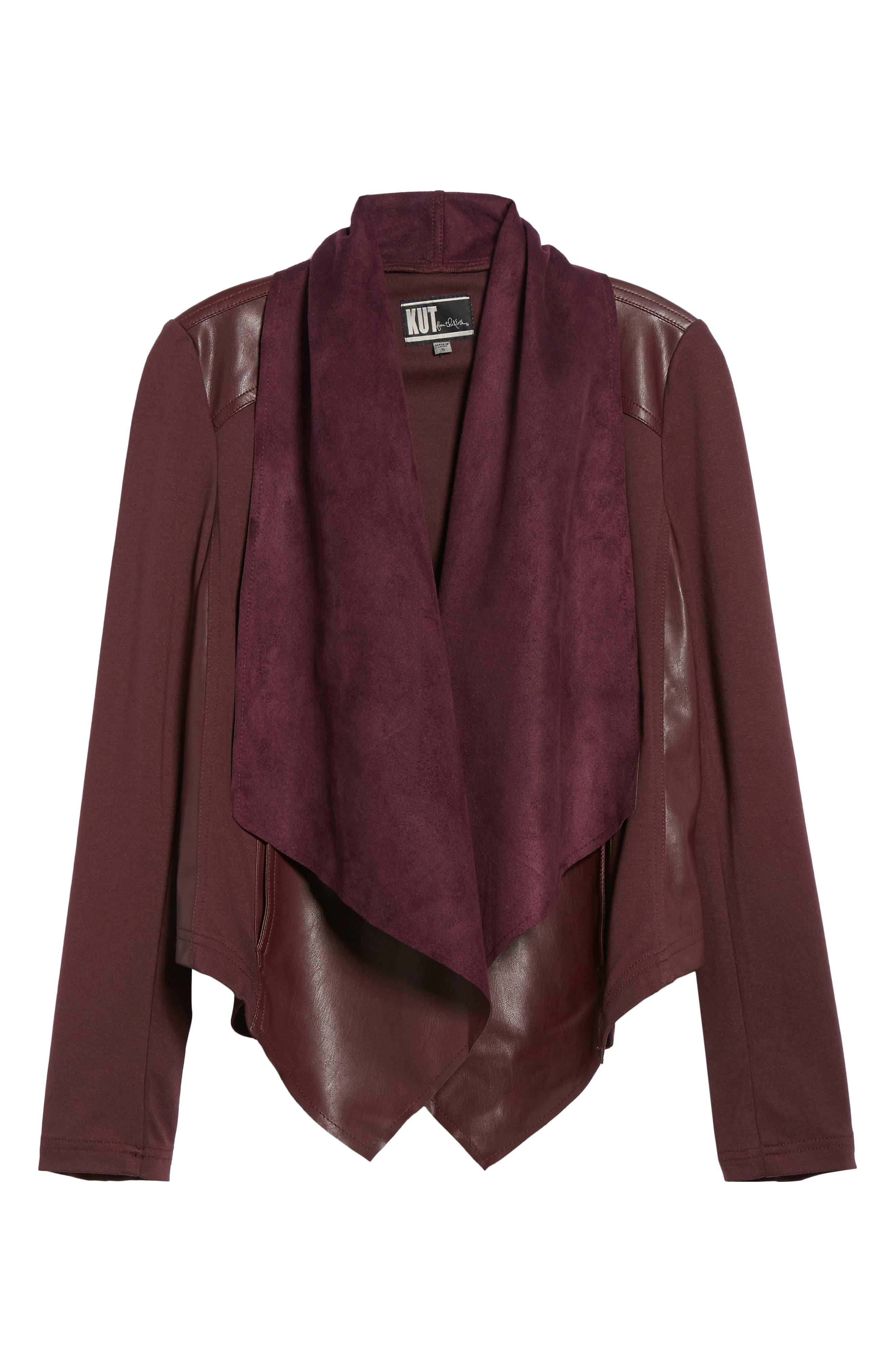 Drape Ponte Jacket,                             Alternate thumbnail 6, color,                             Bordeaux