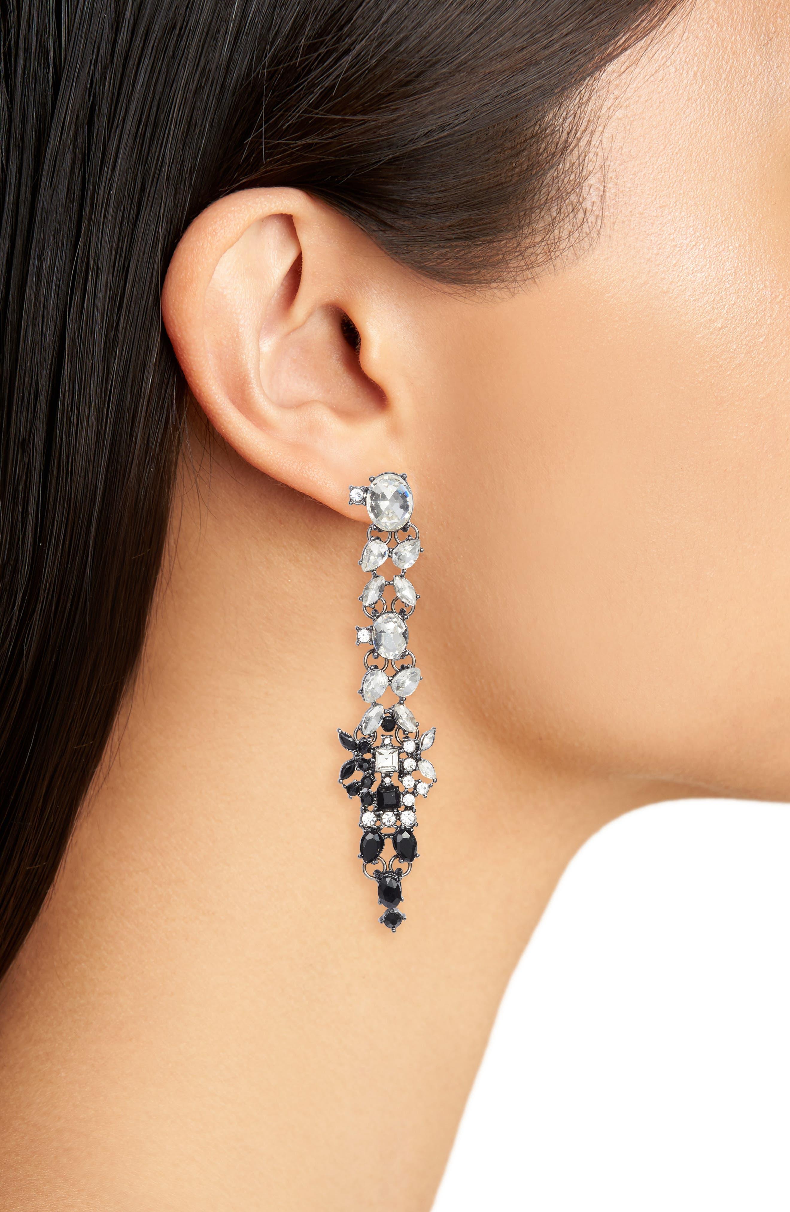 Crystal Drop Earrings,                             Alternate thumbnail 2, color,                             Black/ Crystal
