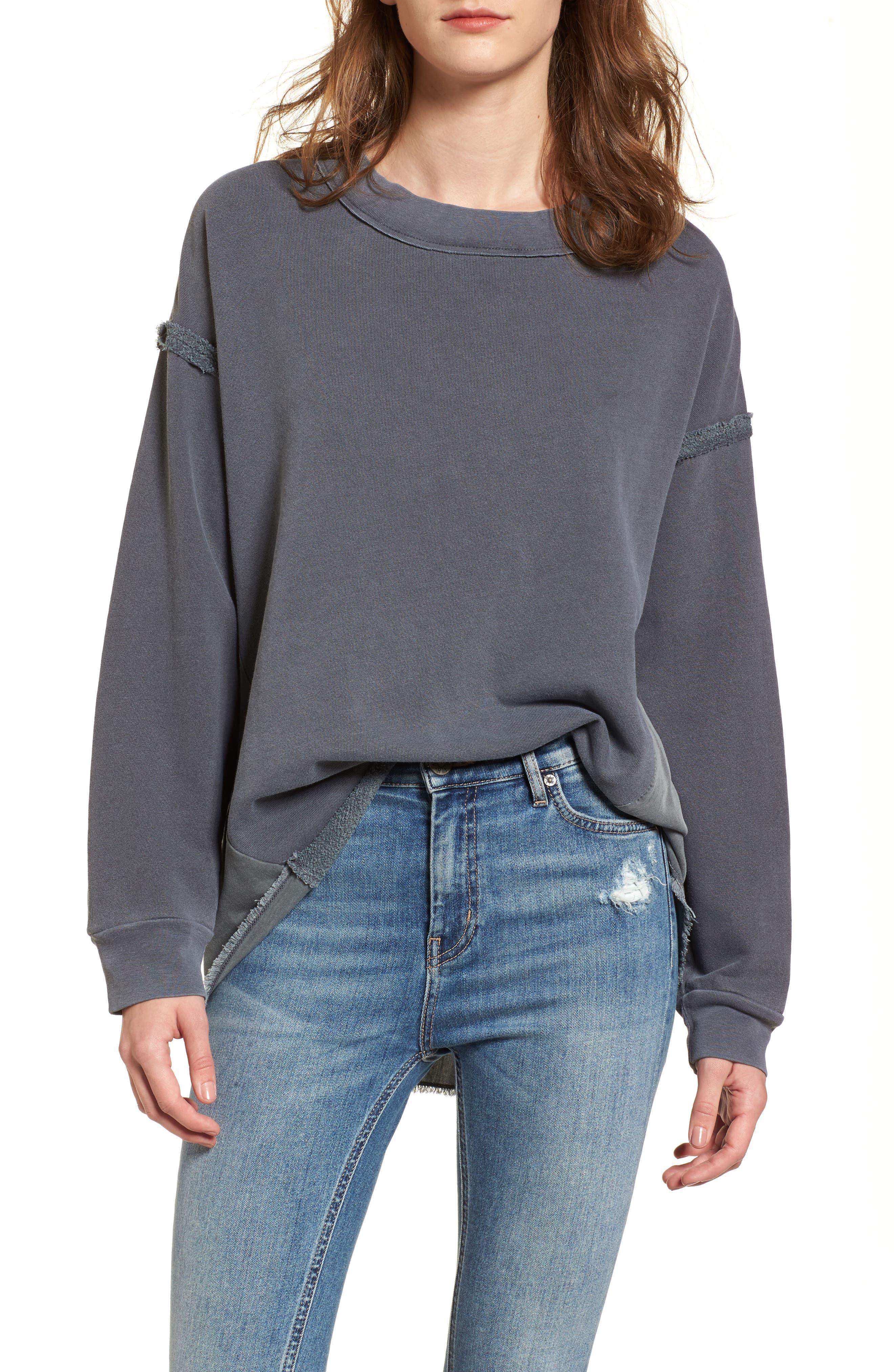 Mixed Media Swing Sweatshirt,                         Main,                         color, Charcoal