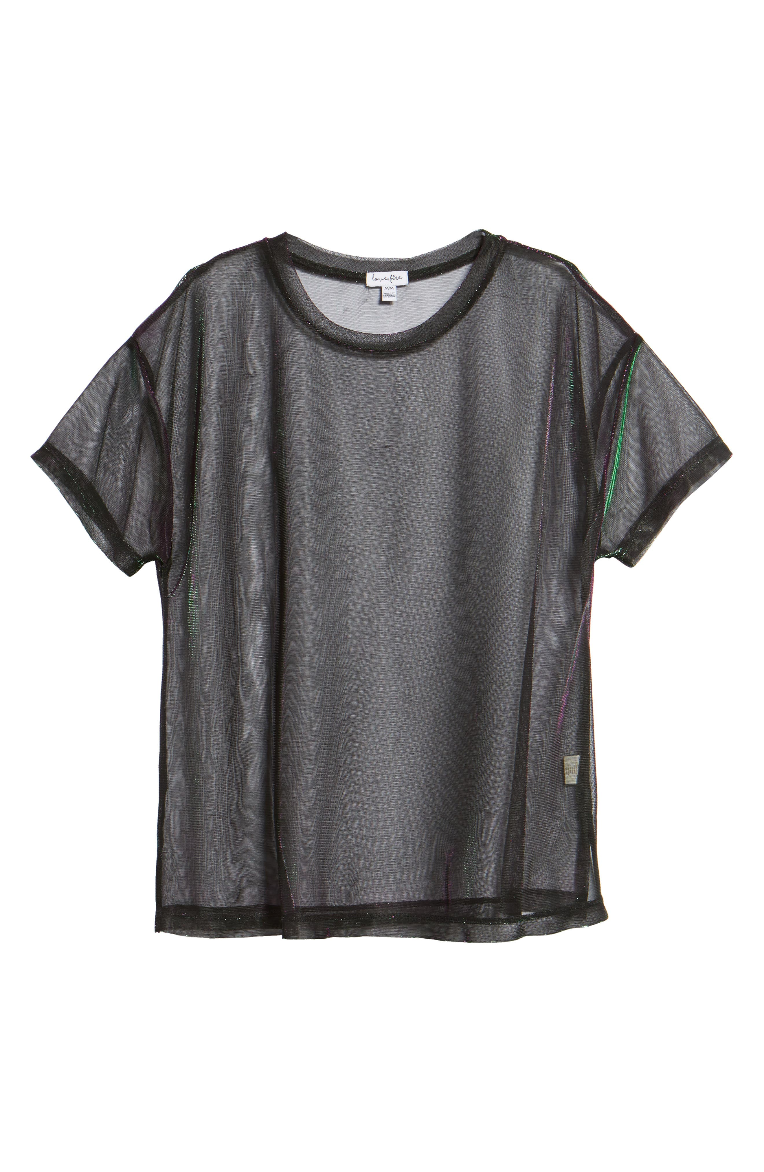 Iridescent Mesh Tee,                             Alternate thumbnail 6, color,                             Green