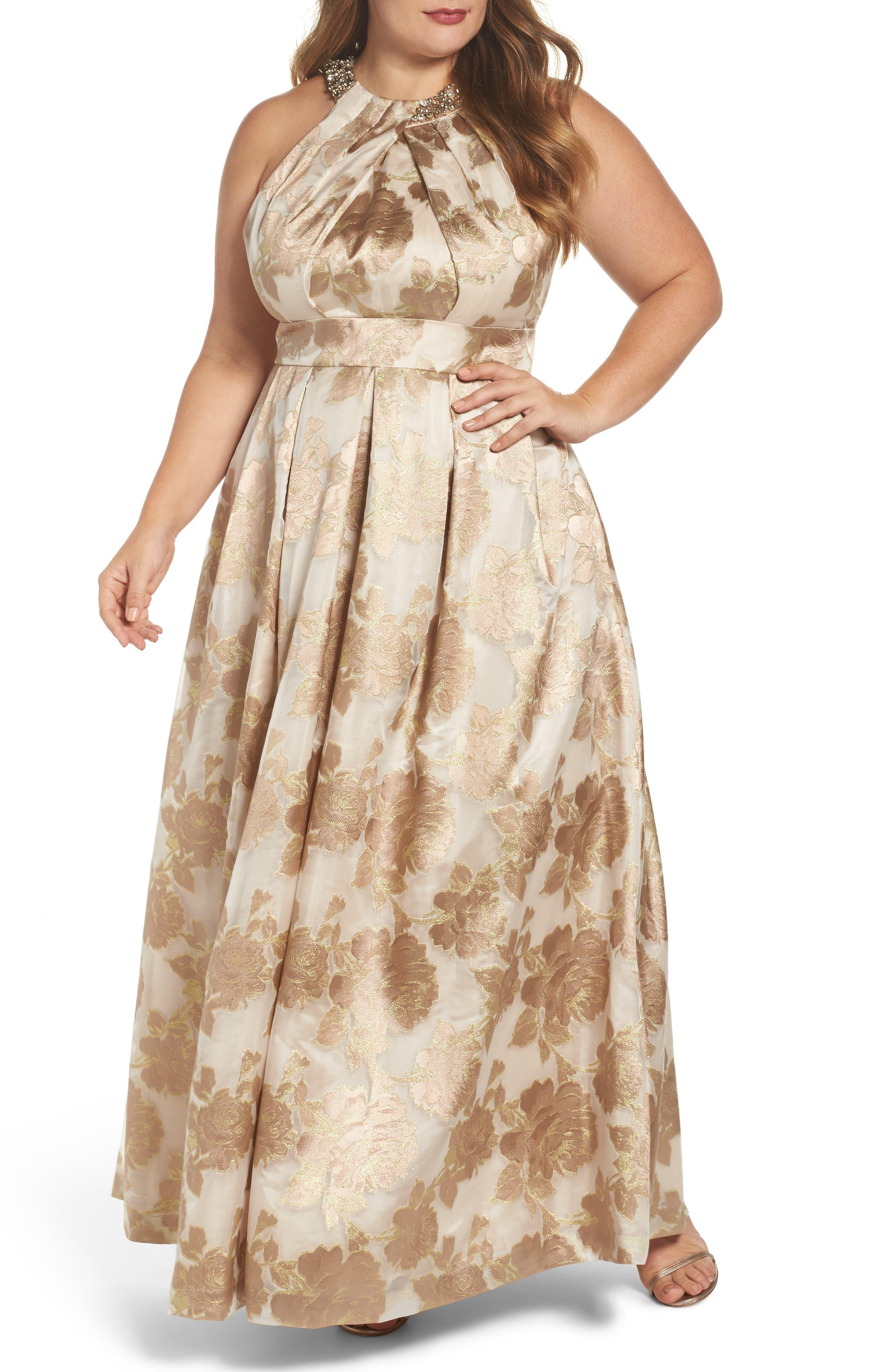 Eliza J Beaded Halter Neck Jacquard Ballgown (Plus Size)