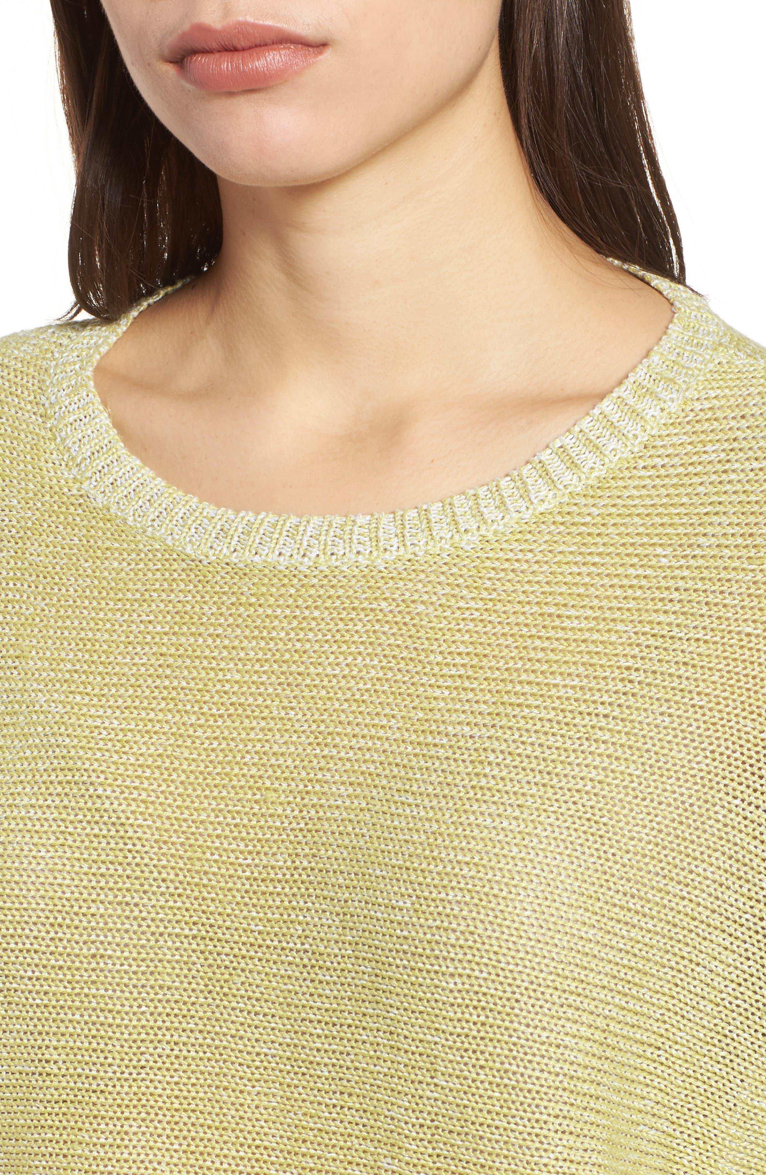 Boxy Organic Linen Sweater,                             Alternate thumbnail 4, color,                             Verbena