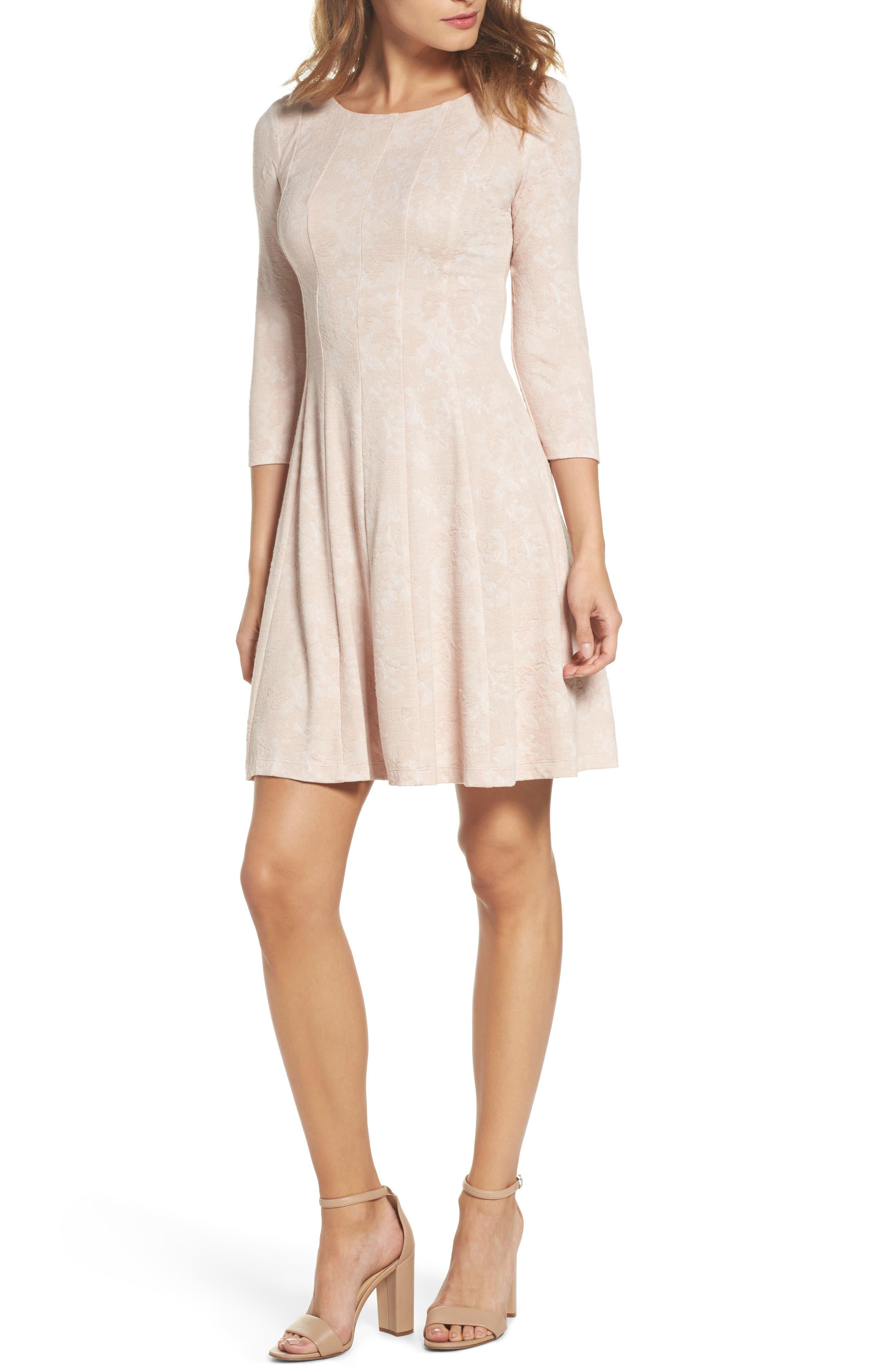 Jacquard Knit Fit & Flare Dress,                             Main thumbnail 1, color,                             Blush