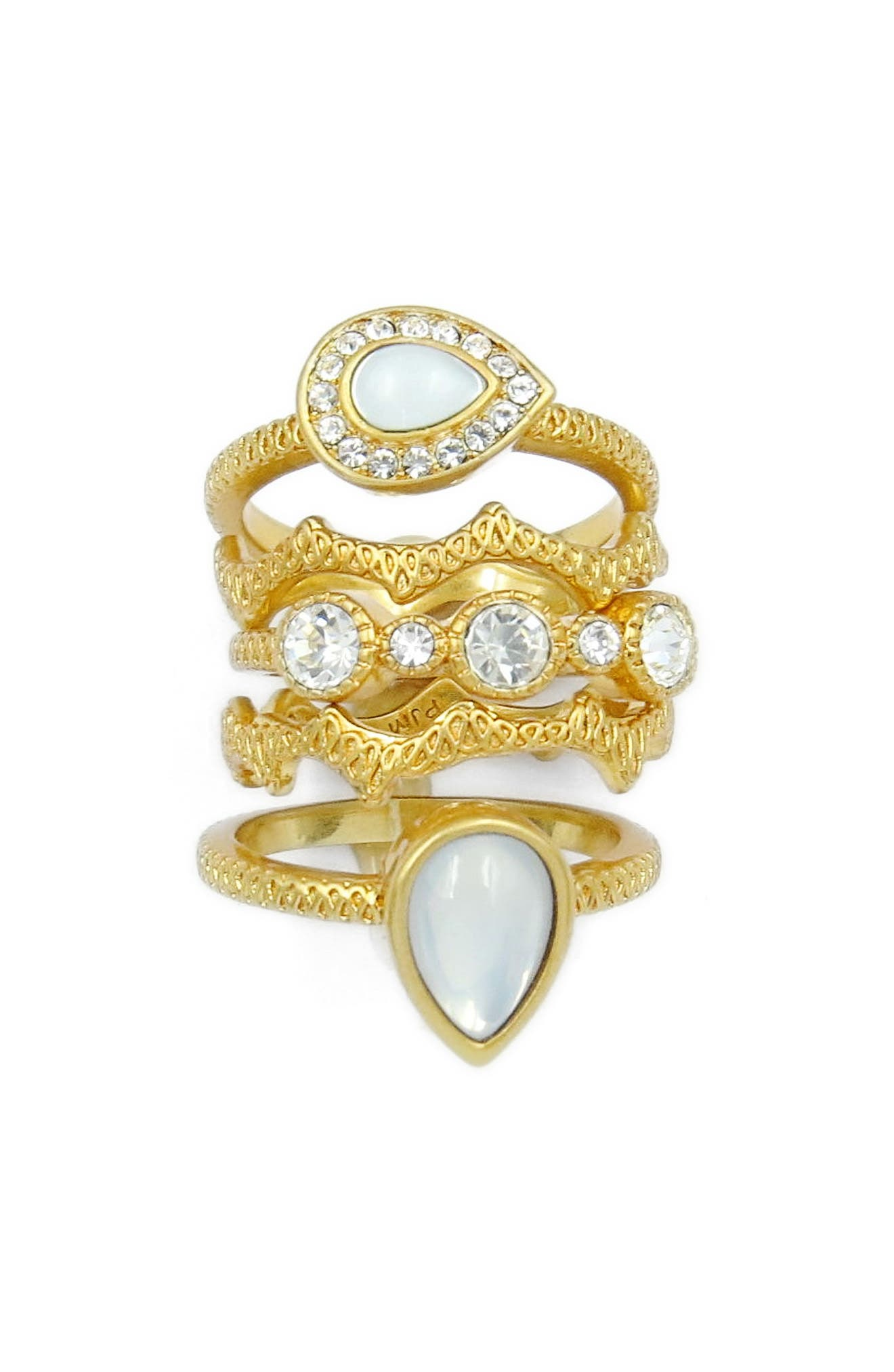 Set of 5 Stacking Rings,                         Main,                         color, Gold