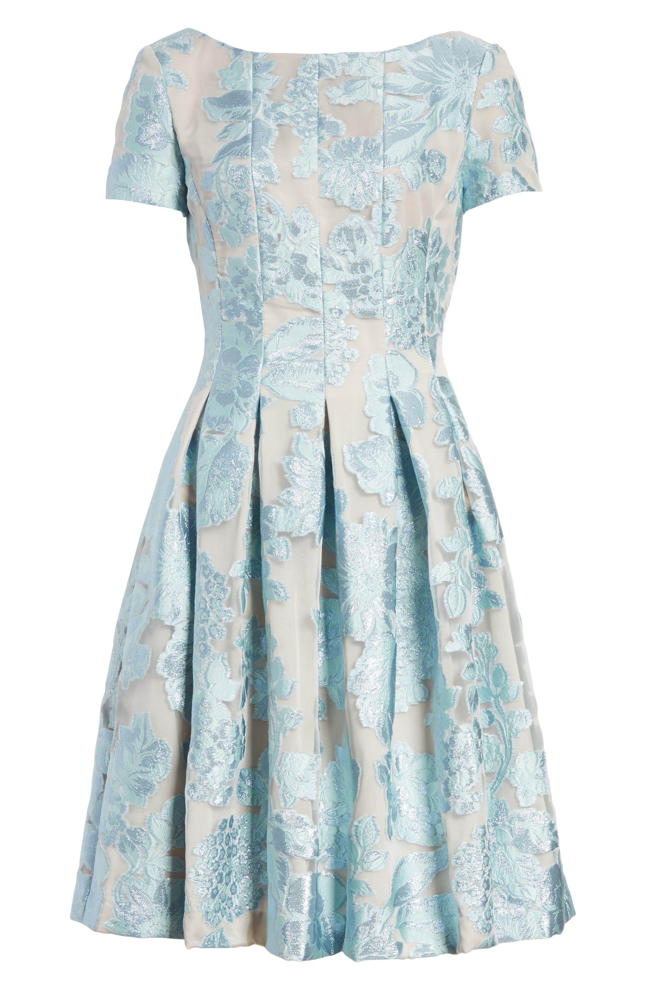 Floral Fil Coupé Organza Dress,                             Alternate thumbnail 7, color,                             Mint/ Silver