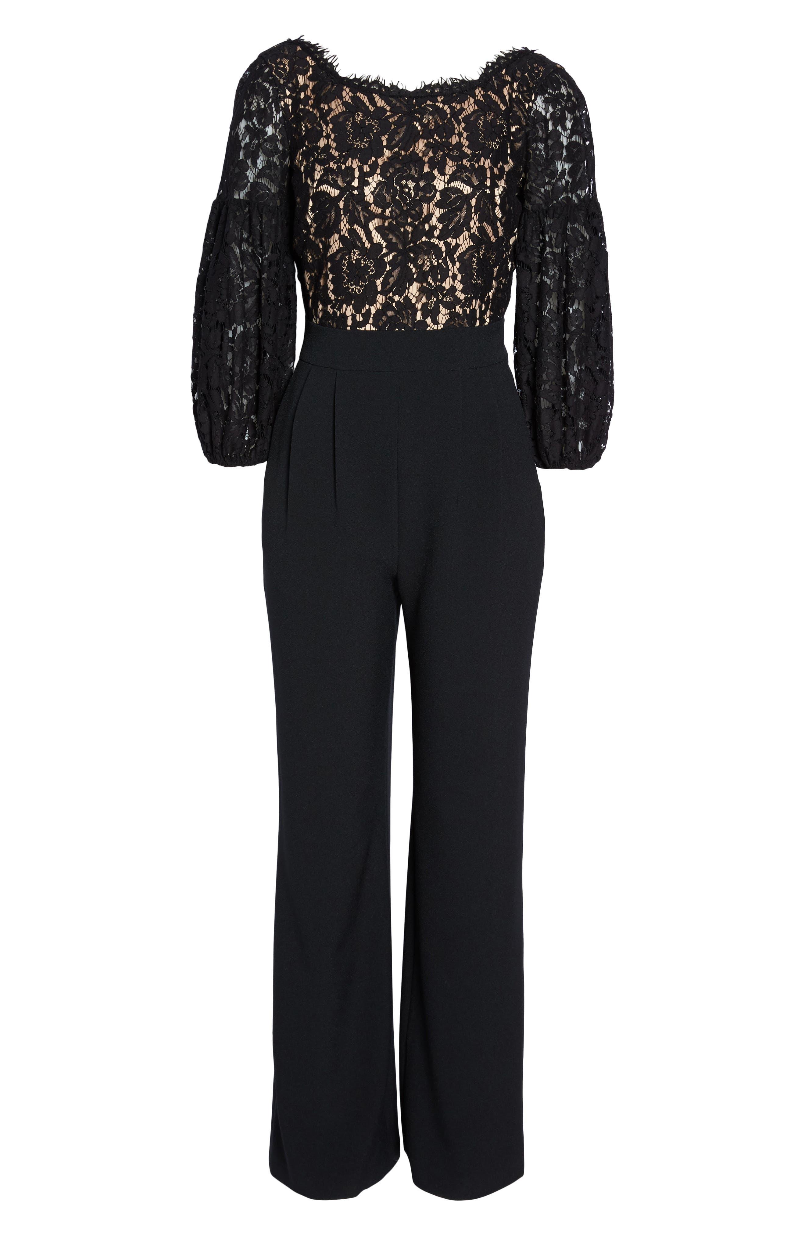 Lace & Crepe Jumpsuit,                             Alternate thumbnail 6, color,                             Black