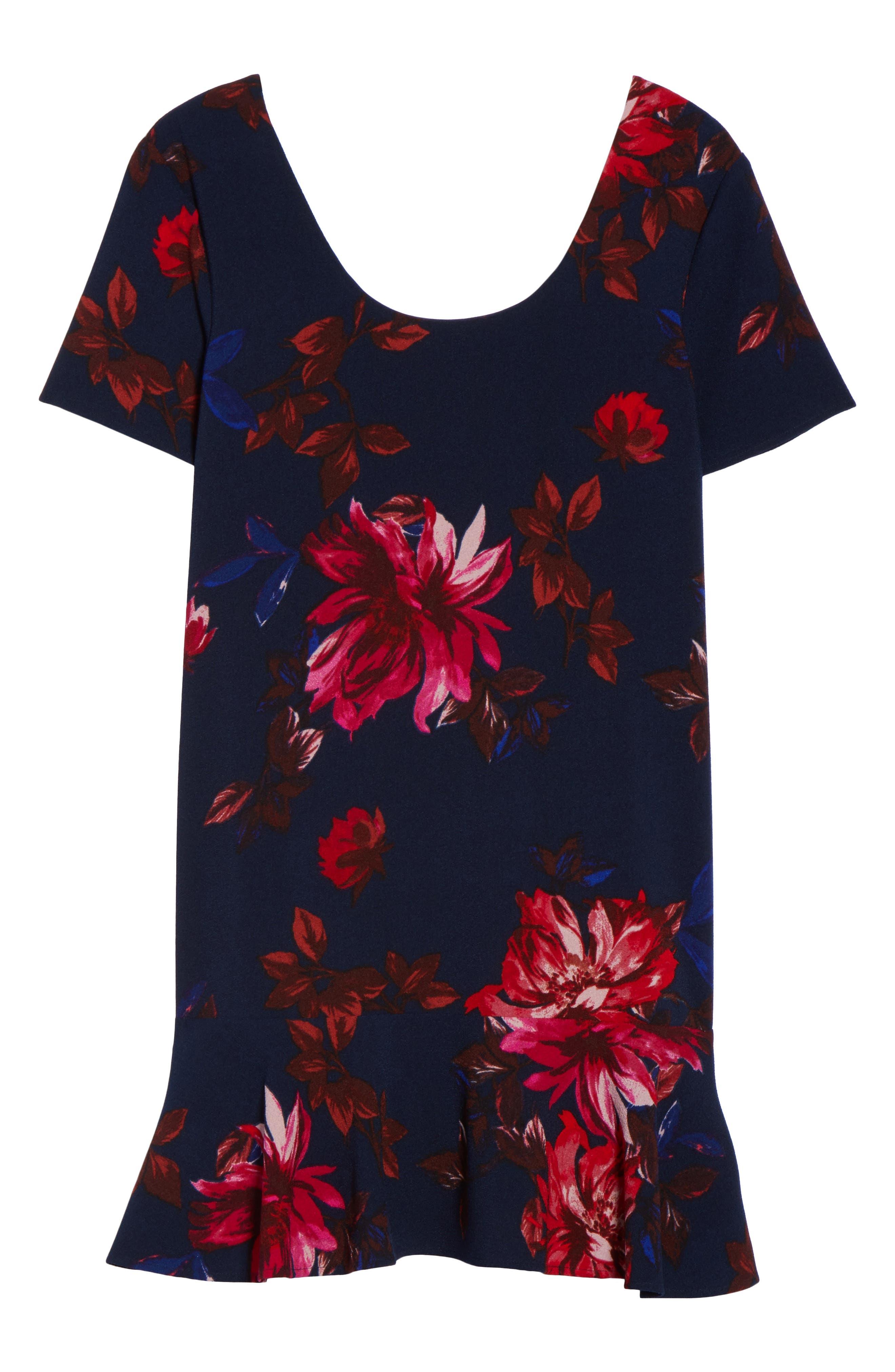 Floral Shift Dress,                             Alternate thumbnail 6, color,                             Navy Floral