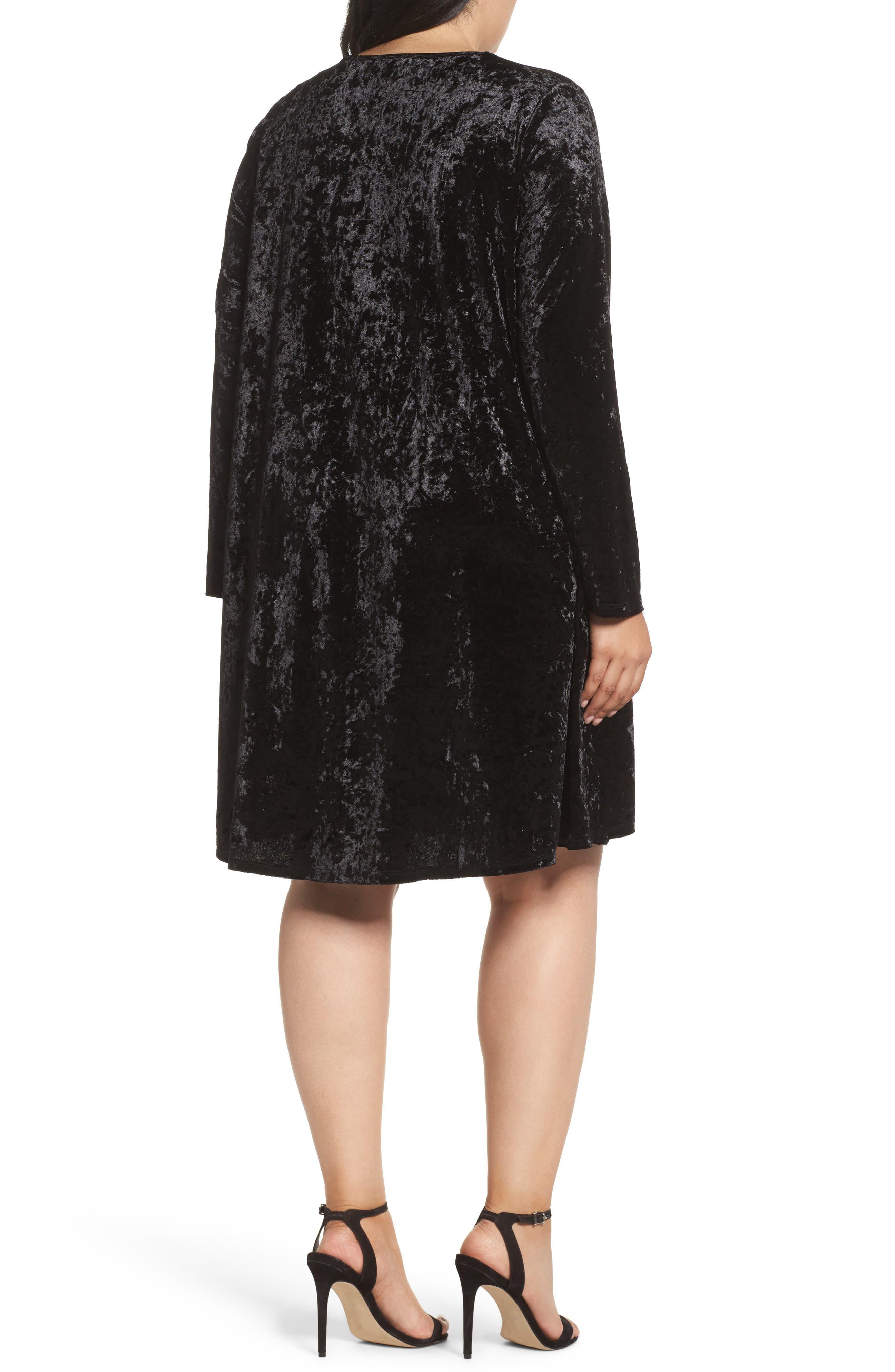 Velvet Shift Dress,                             Alternate thumbnail 2, color,                             Black Velvet