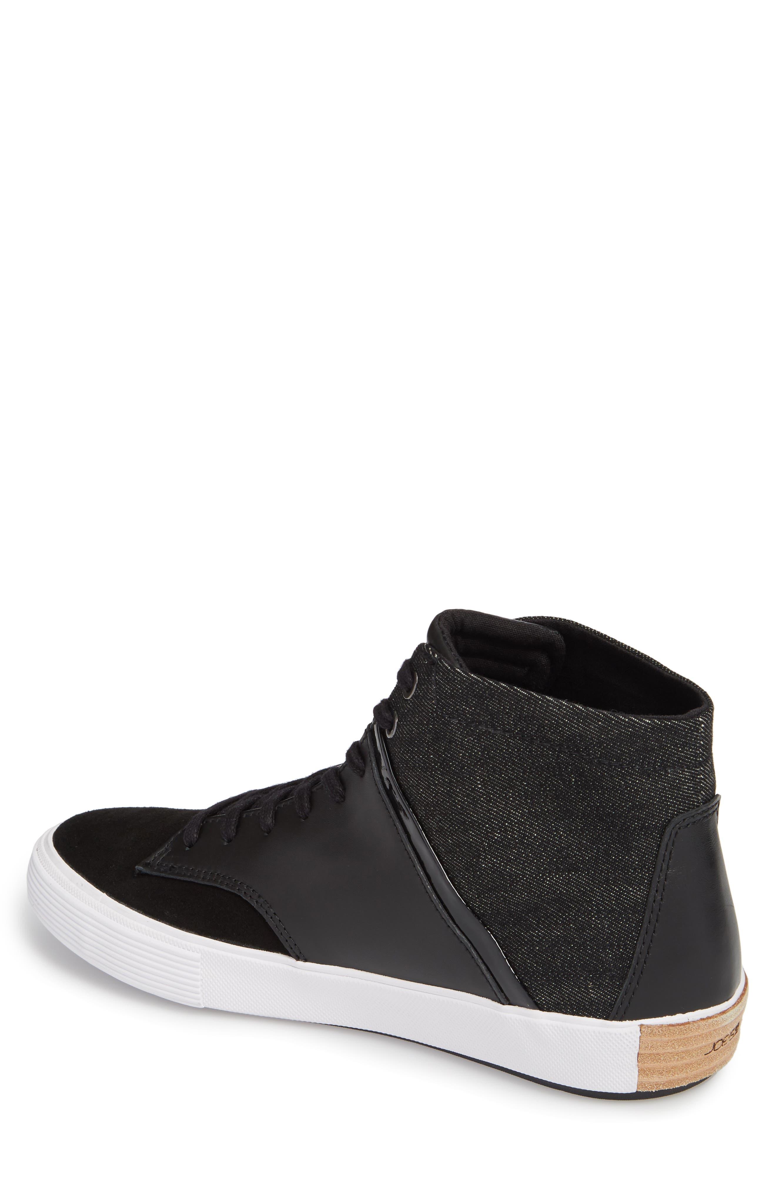Joe Mac High Top Sneaker,                             Alternate thumbnail 2, color,                             Black Leather