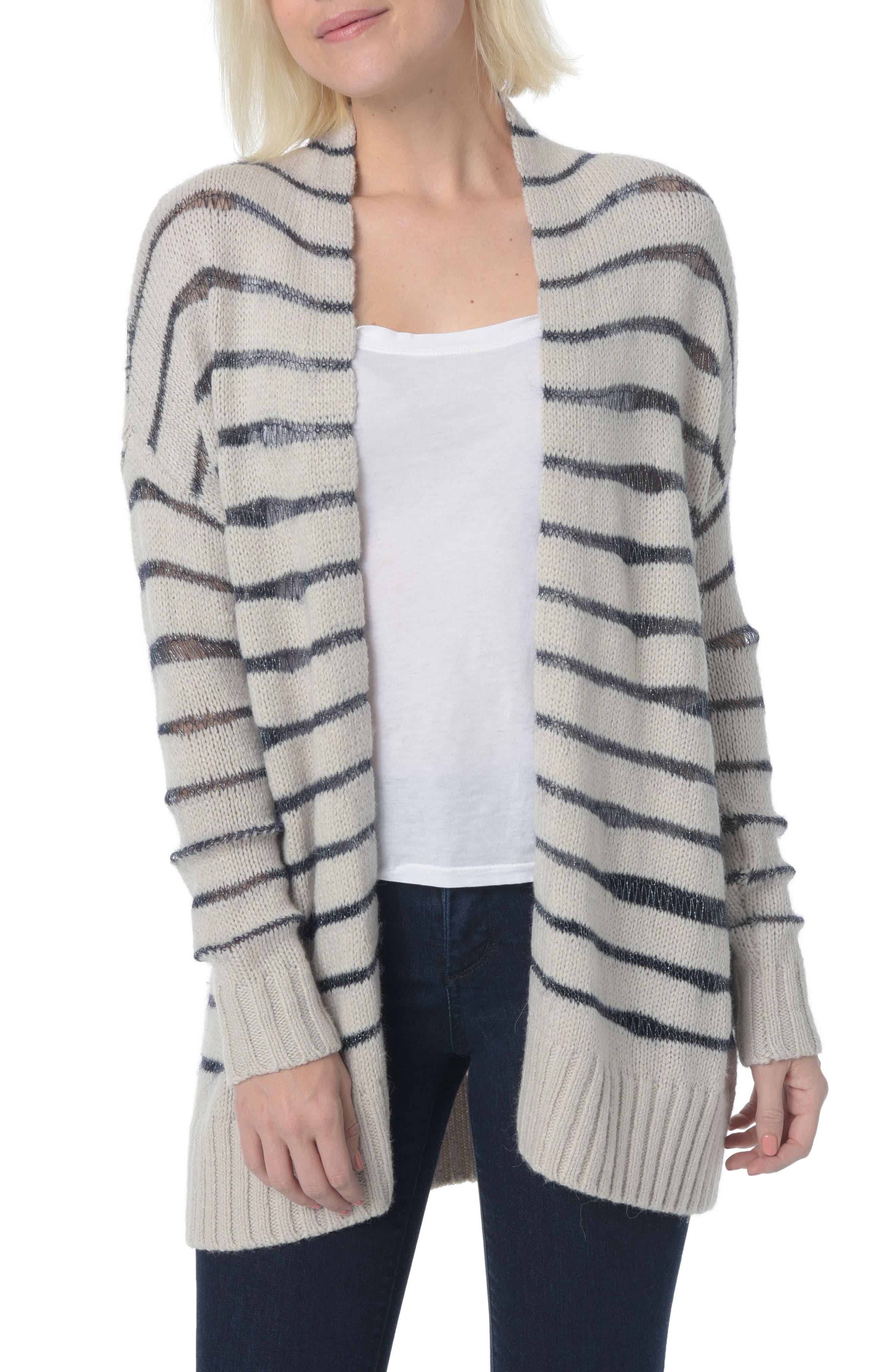 Metallic Striped Cardigan,                         Main,                         color, Winds Breath