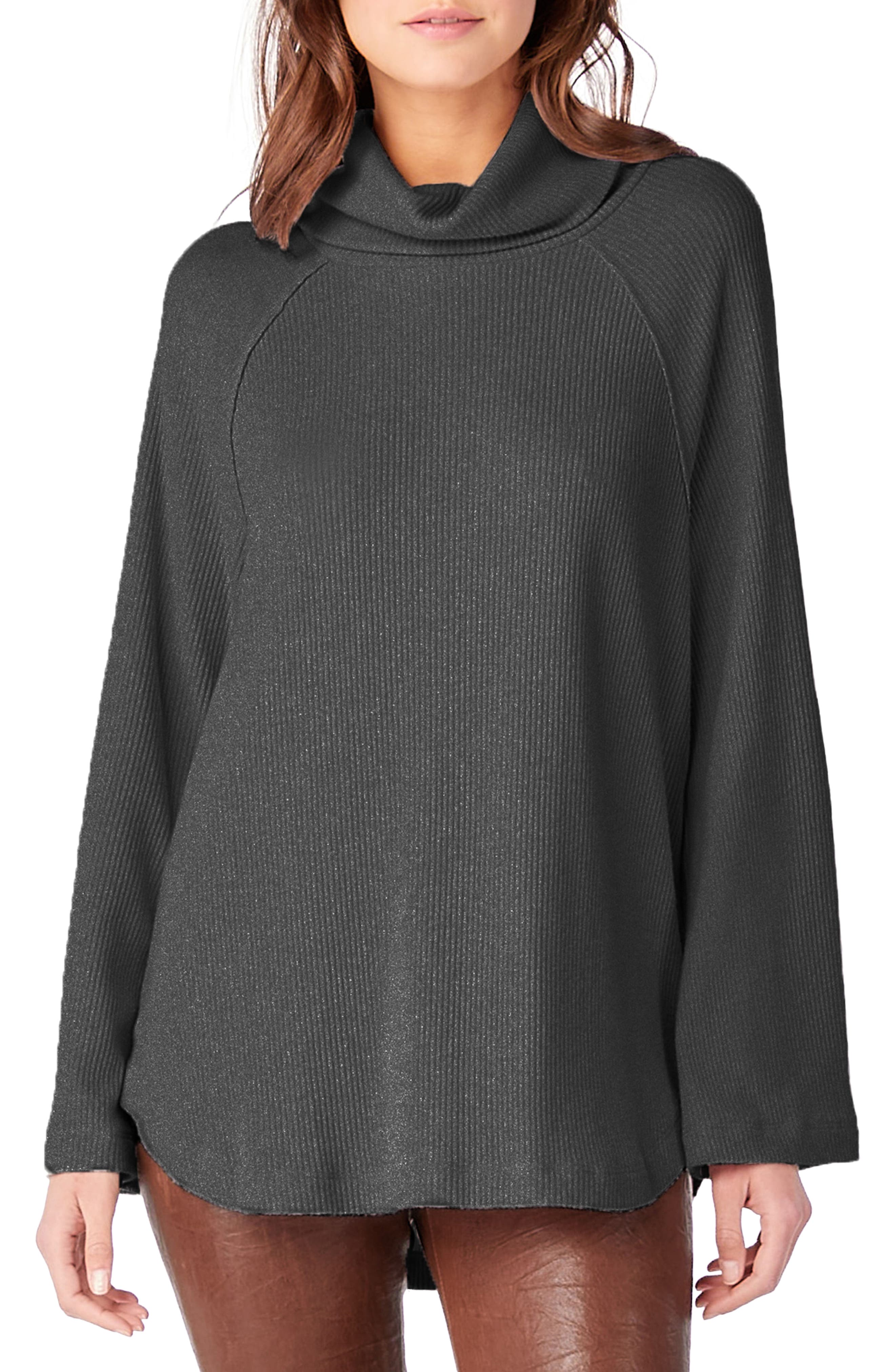 Ribbed Turtleneck Top,                         Main,                         color, Charcoal