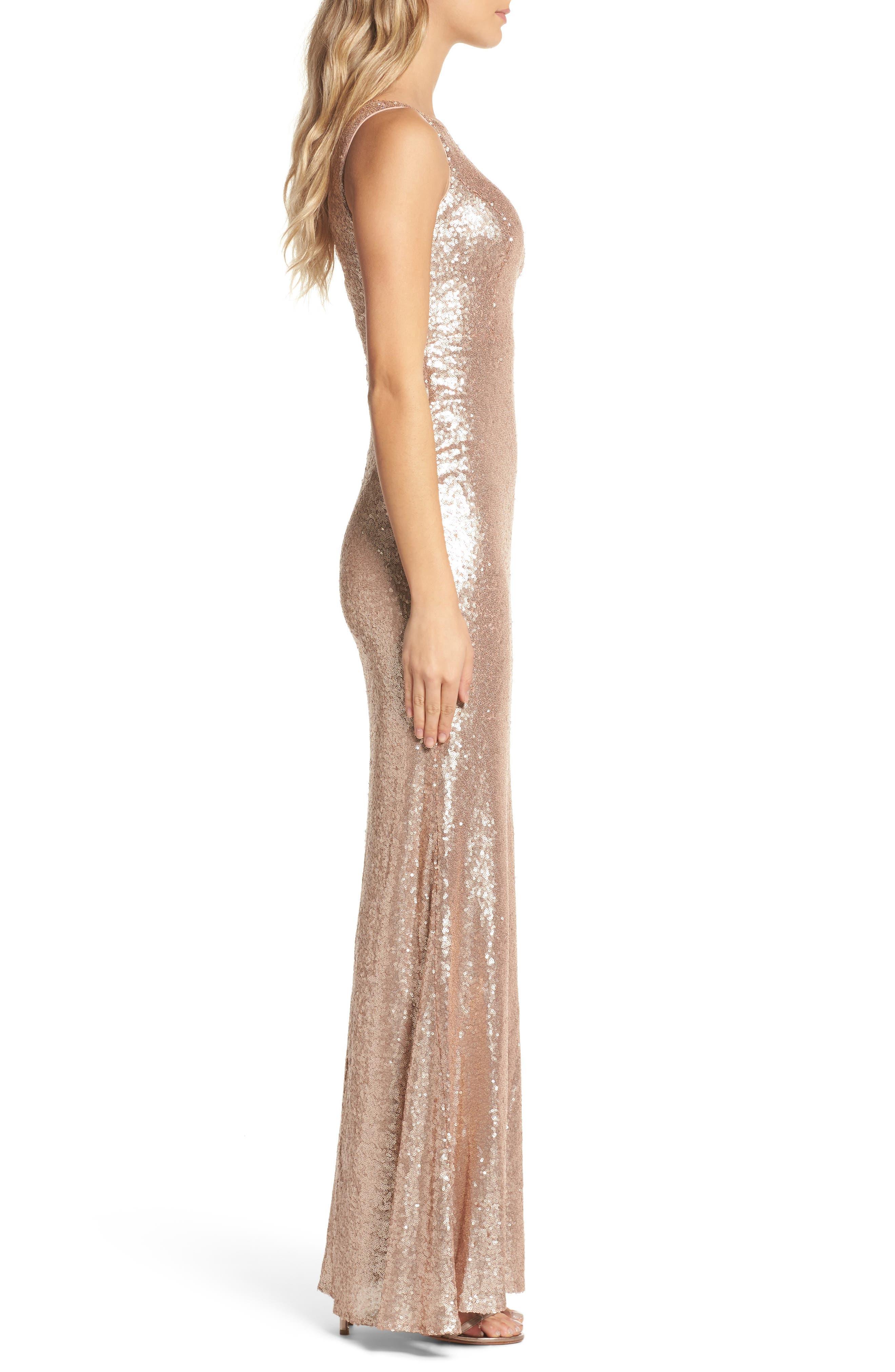 Alternate Image 3  - Lulus Sequin One-Shoulder Trumpet Gown
