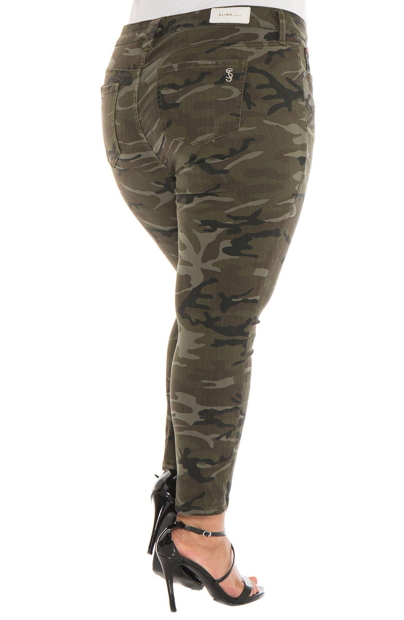 Alternate Image 2  - SLINK Jeans Camo Ankle Skinny Jeans (Plus Size)