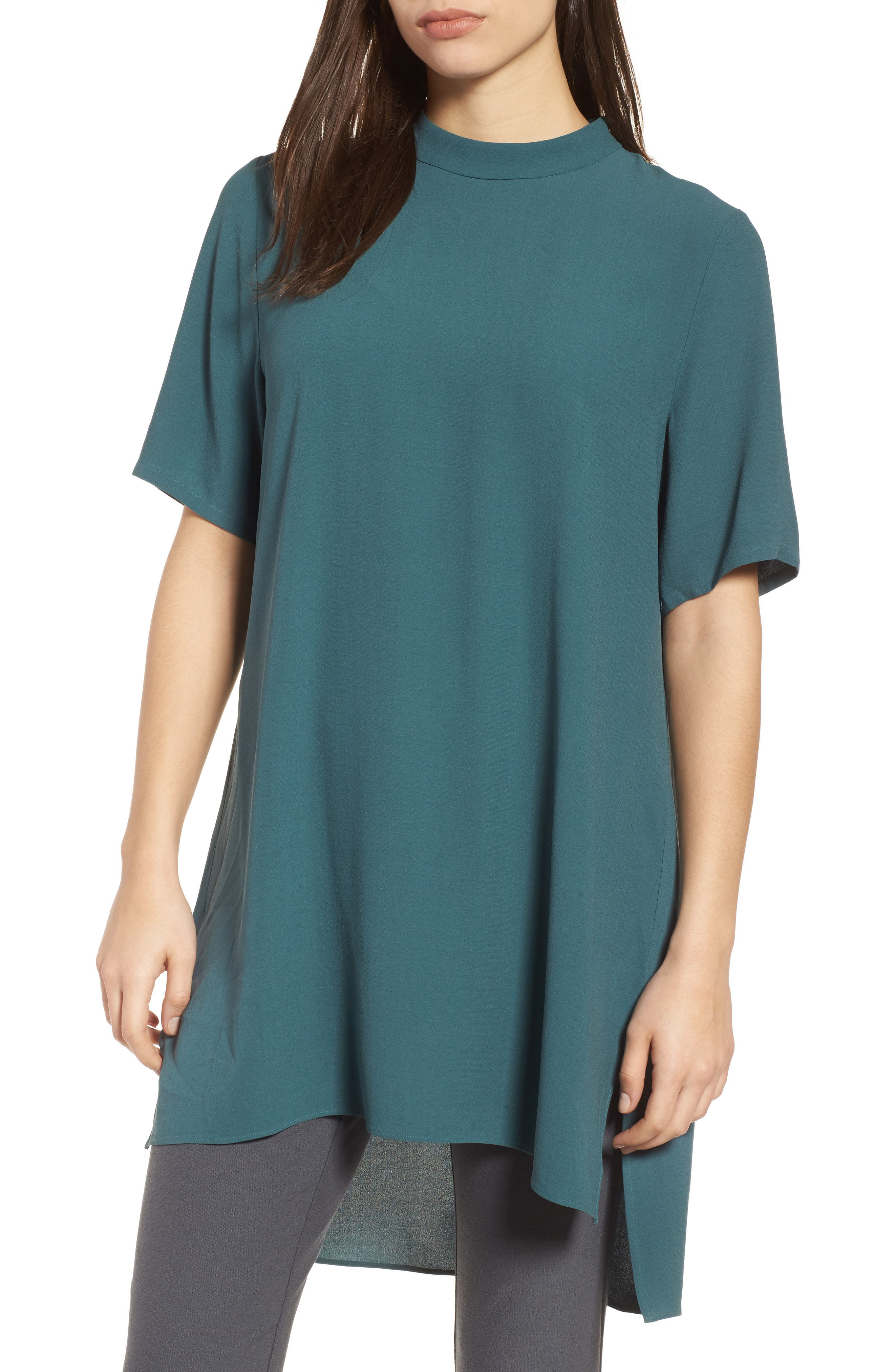 High Neck Silk Tunic,                         Main,                         color, Dragonfly