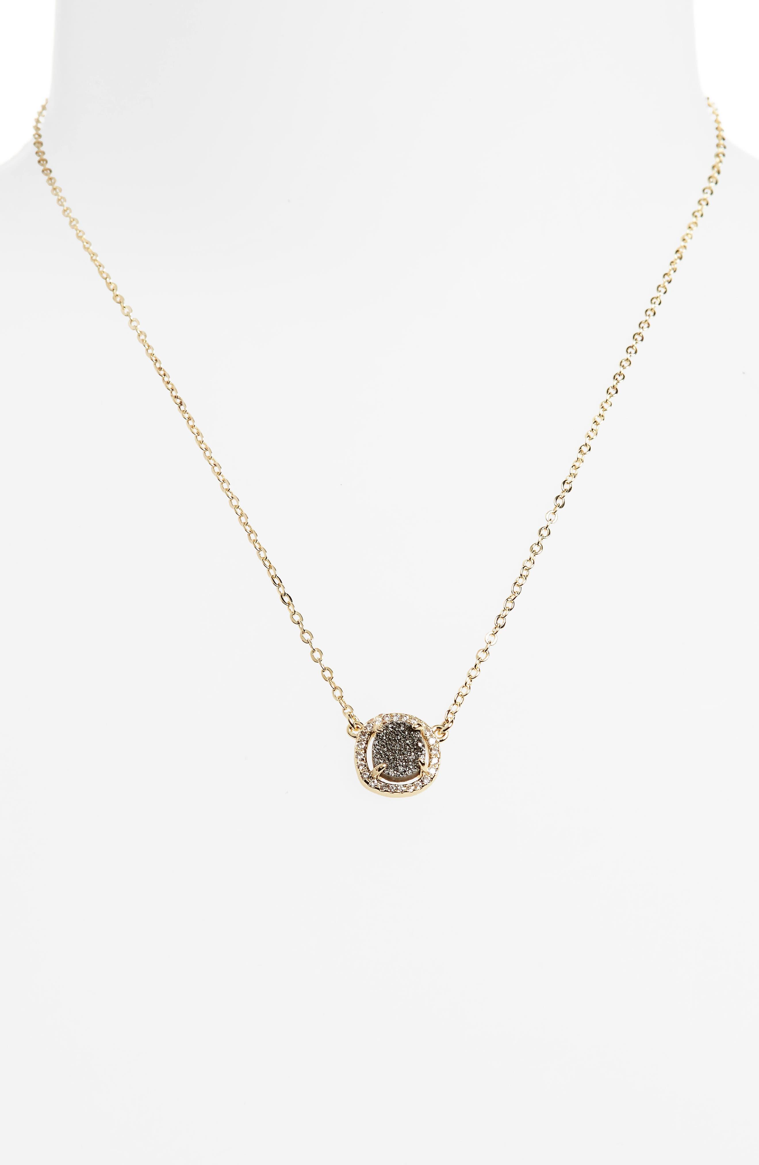 Margo Pendant Necklace,                         Main,                         color, Grey Druzy/ Gold