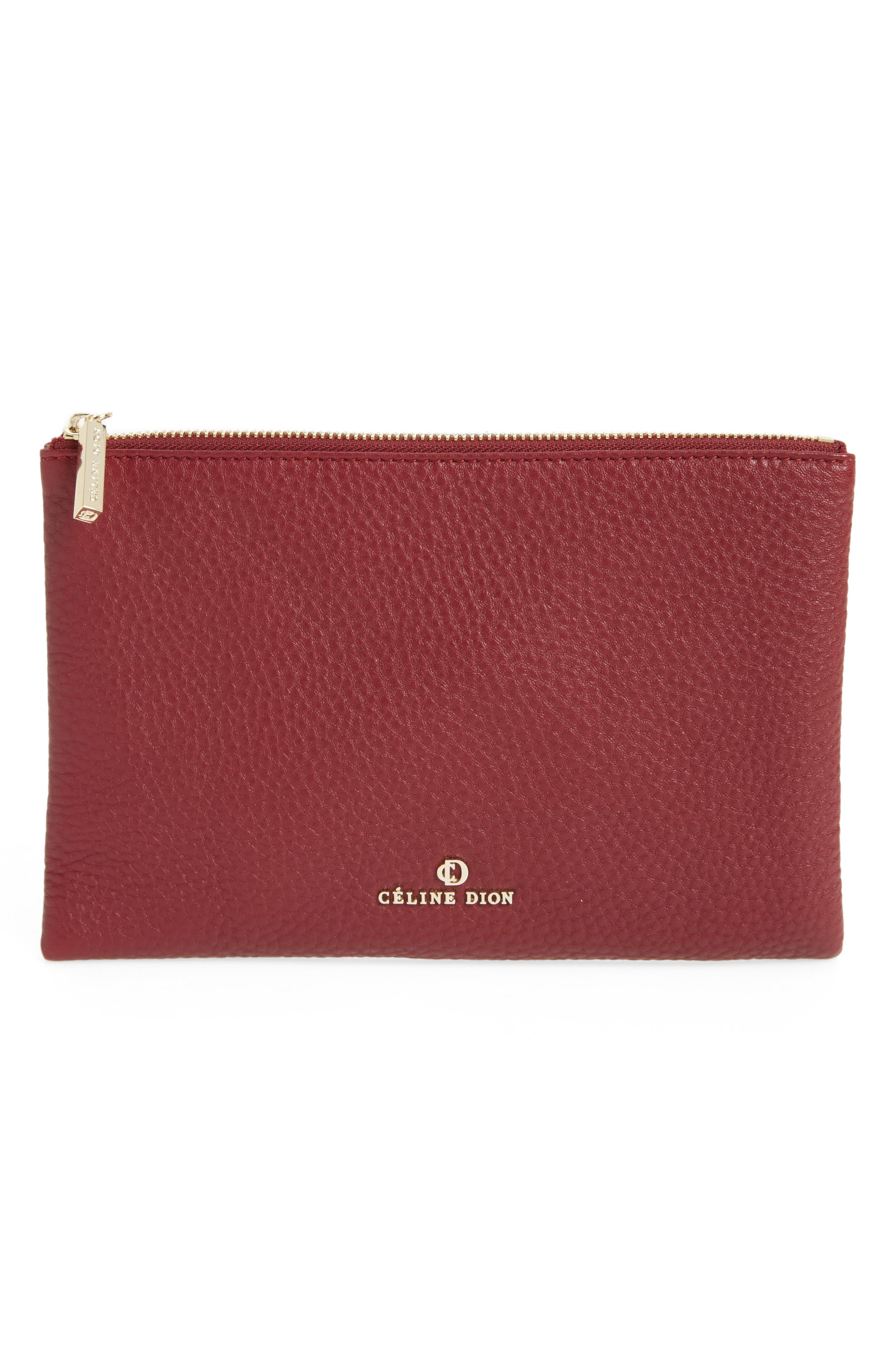 Céline Dion Adagio Leather Zip Pouch,                             Main thumbnail 1, color,                             Dark Red