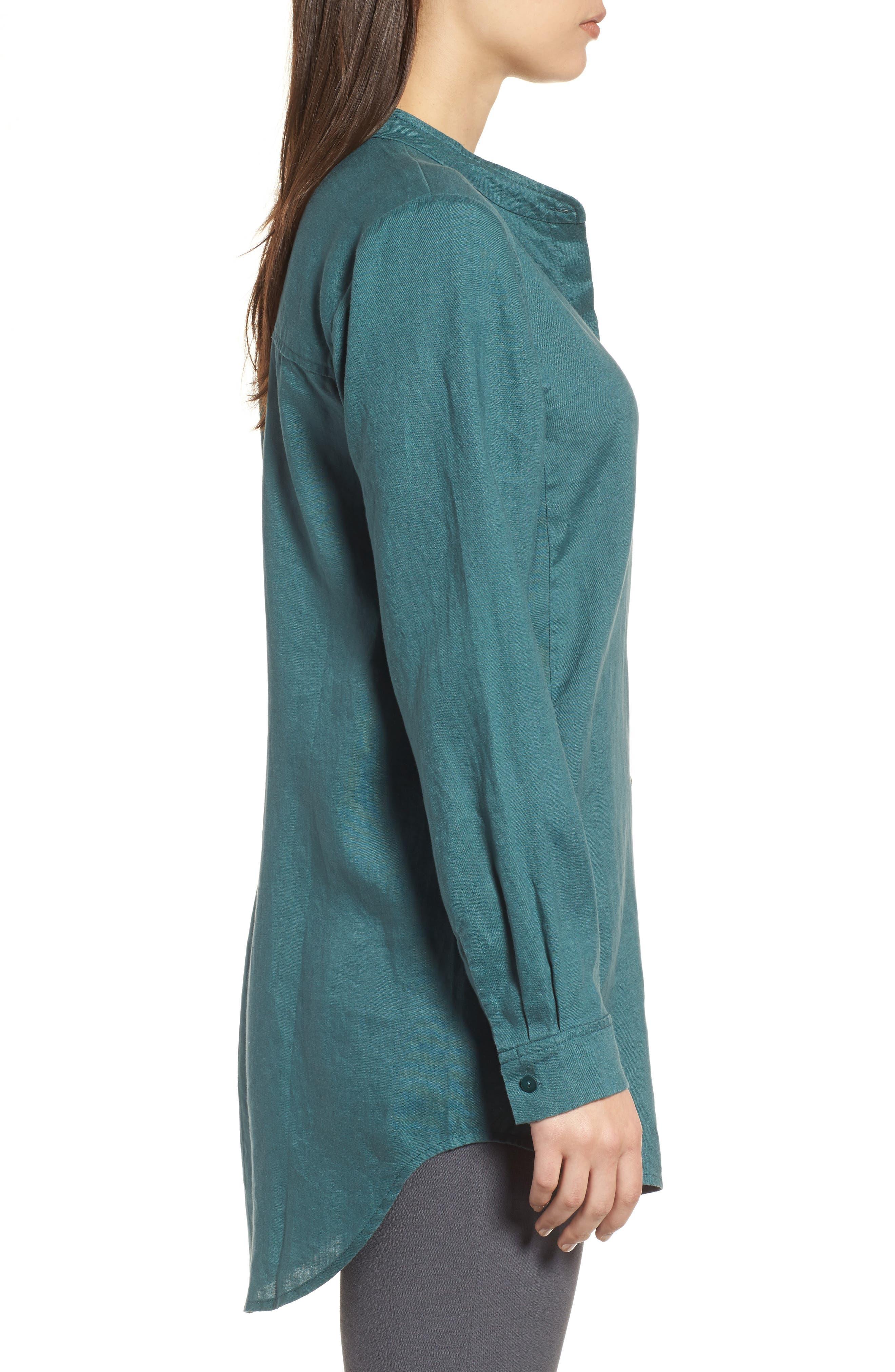 Organic Linen Tunic Shirt,                             Alternate thumbnail 3, color,                             Dragonfly