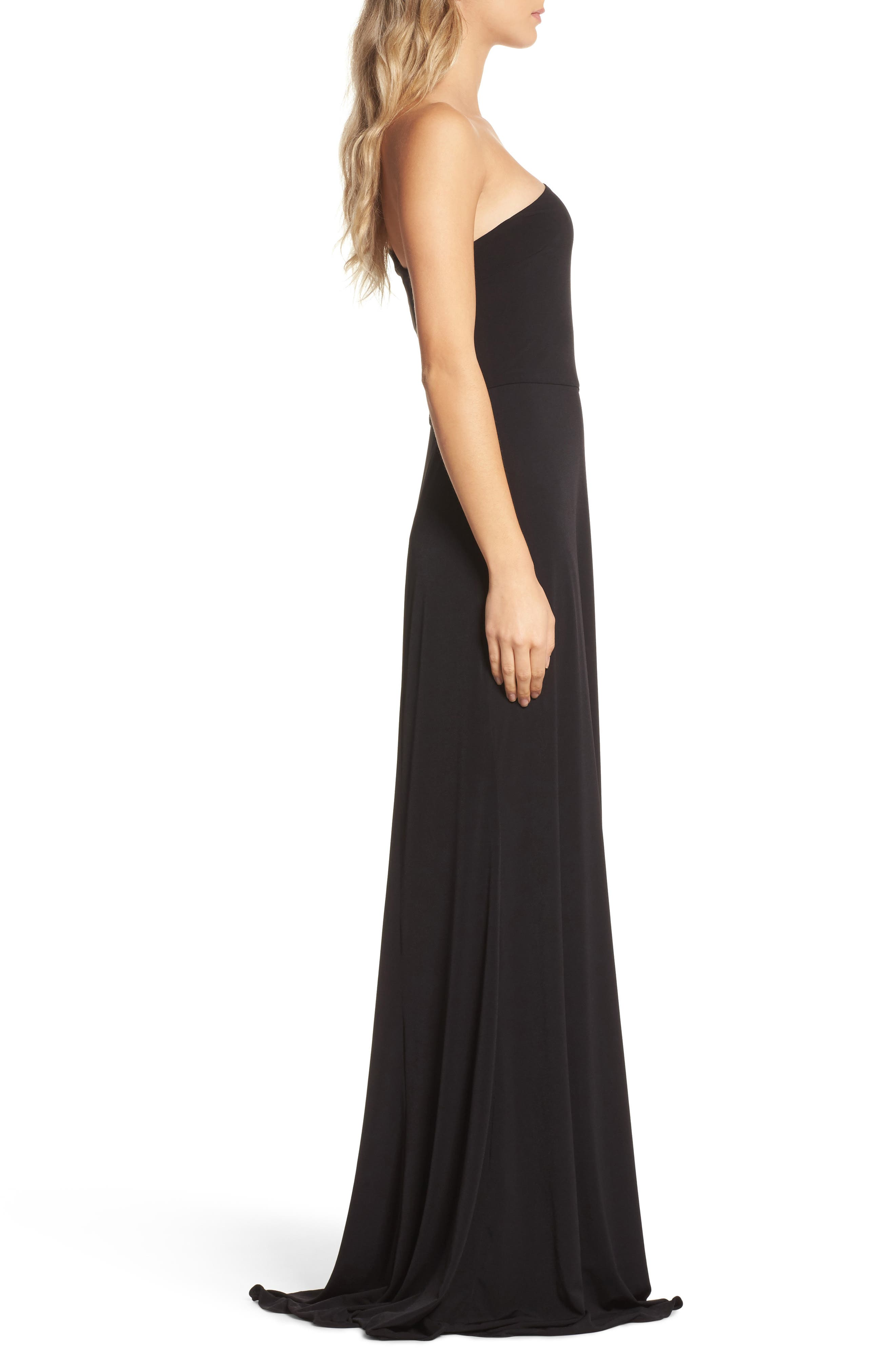One-Shoulder Jersey Gown,                             Alternate thumbnail 3, color,                             Black