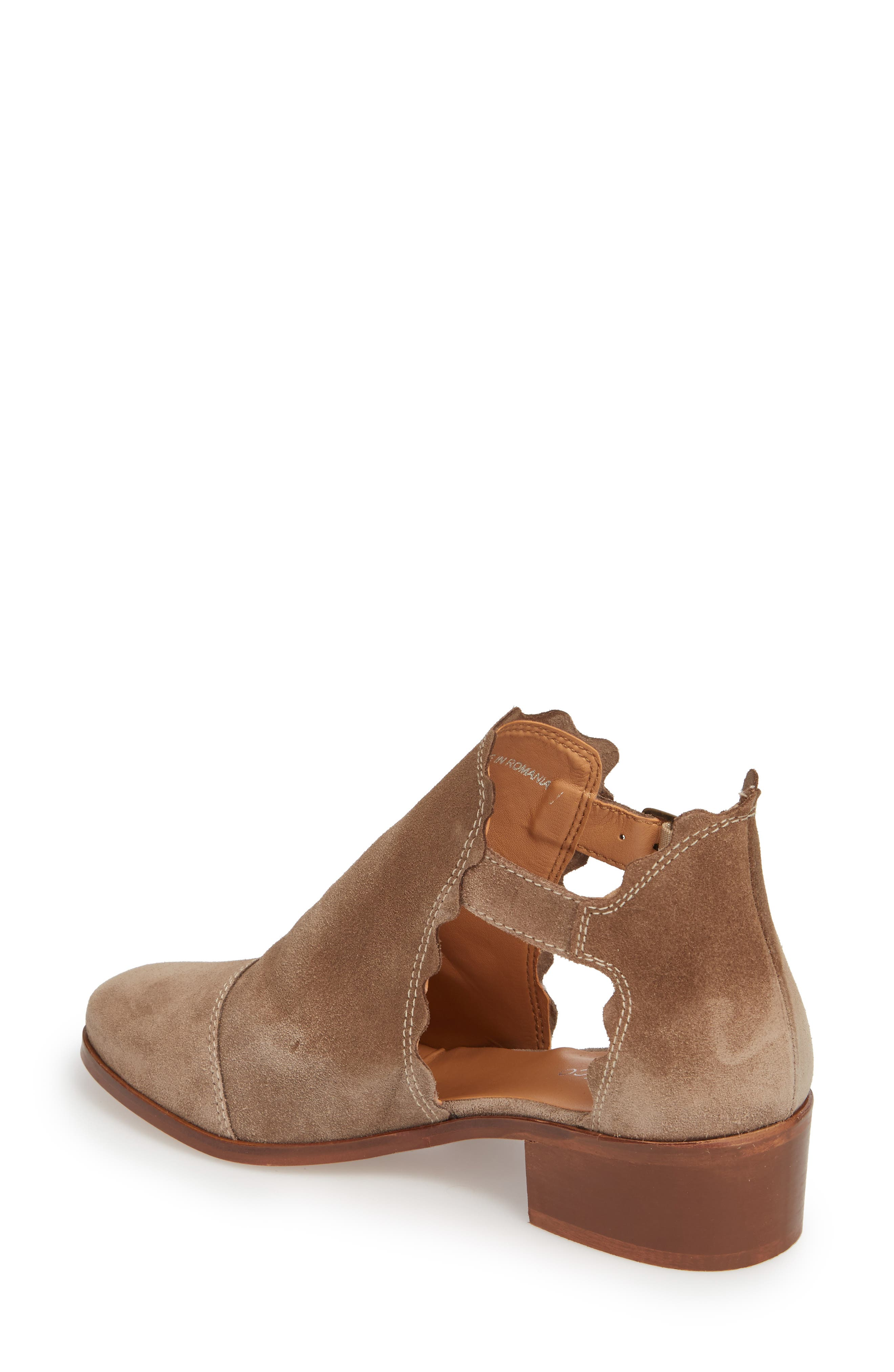 Beau Open Side Bootie,                             Alternate thumbnail 2, color,                             Taupe Suede