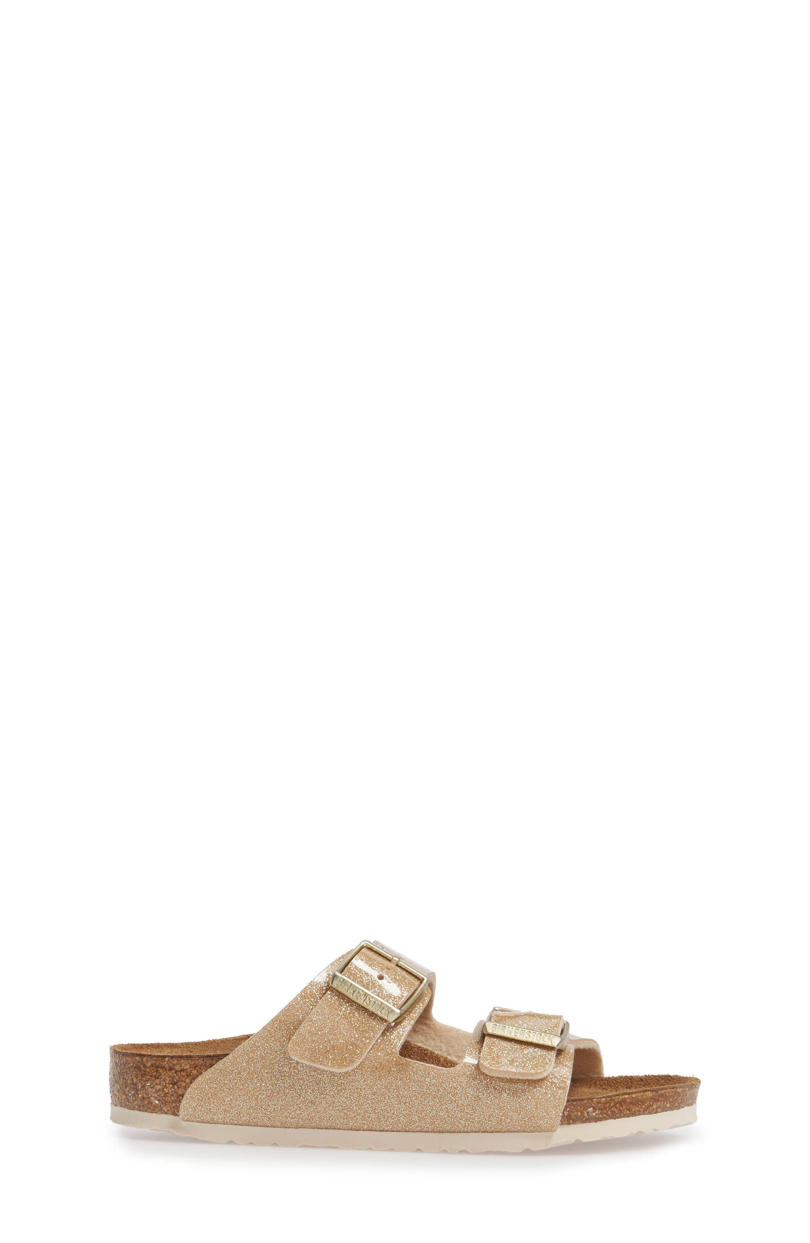 'Arizona Galaxy Birko-Flor' Slide Sandal,                             Alternate thumbnail 3, color,                             Galaxy Gold