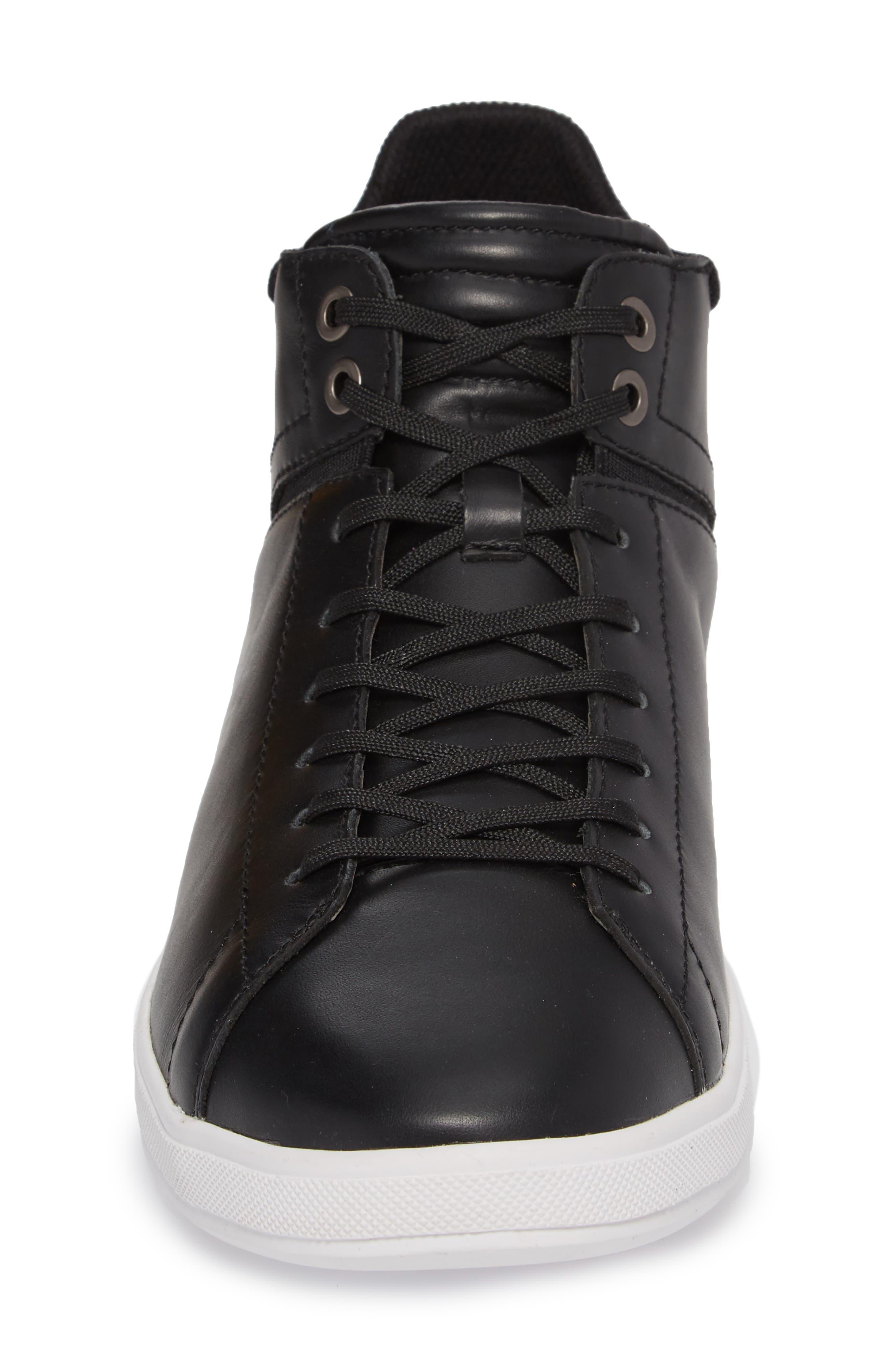 Joe Z Mid Top Sneaker,                             Alternate thumbnail 4, color,                             Black Leather