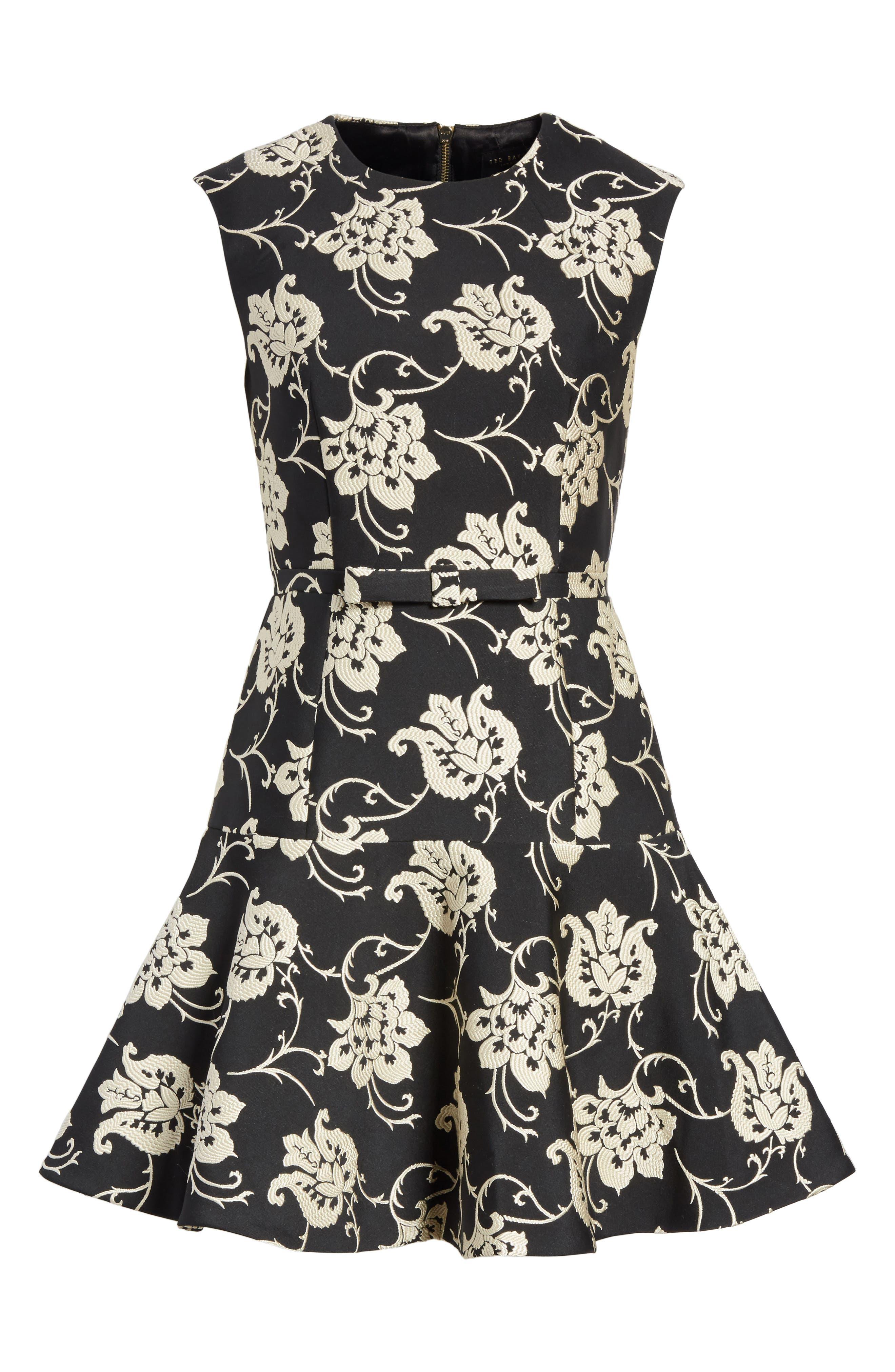 Ornate Paisley Ruffle Hem Dress,                             Alternate thumbnail 6, color,                             Black
