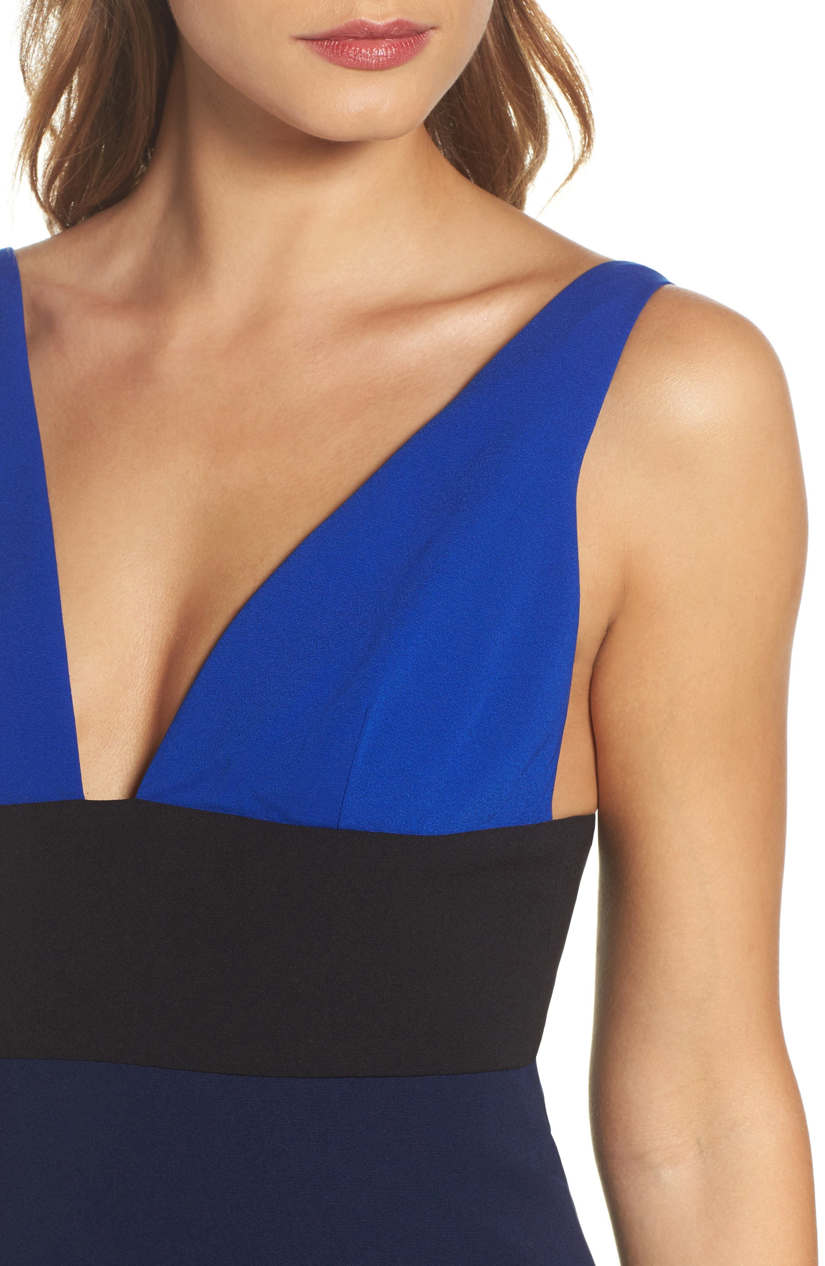 Colorblock V-Neck Gown,                             Alternate thumbnail 4, color,                             China Blue/ Black/ Midnight