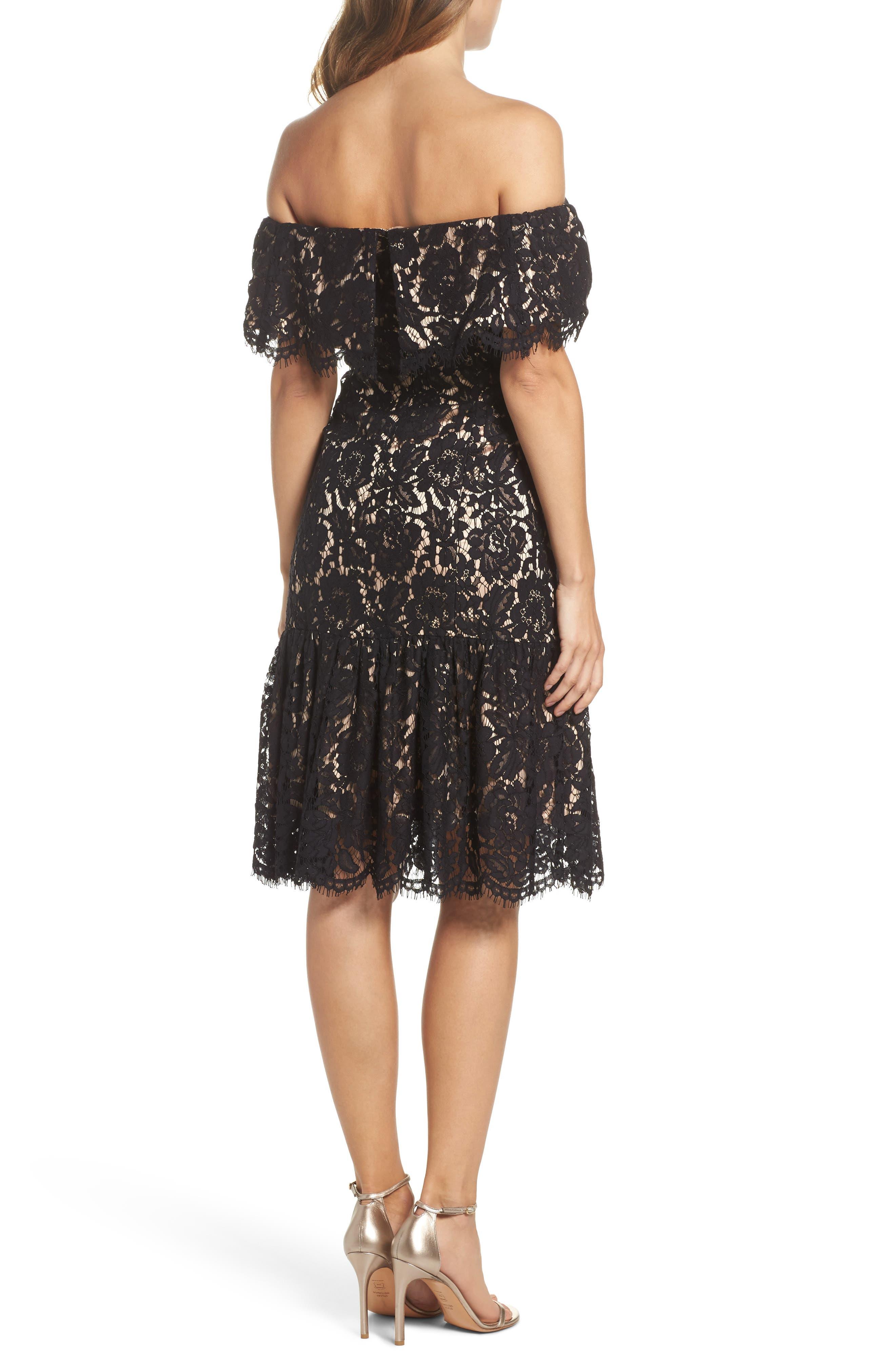 Lace Off the Shoulder Midi Dress,                             Alternate thumbnail 2, color,                             Black