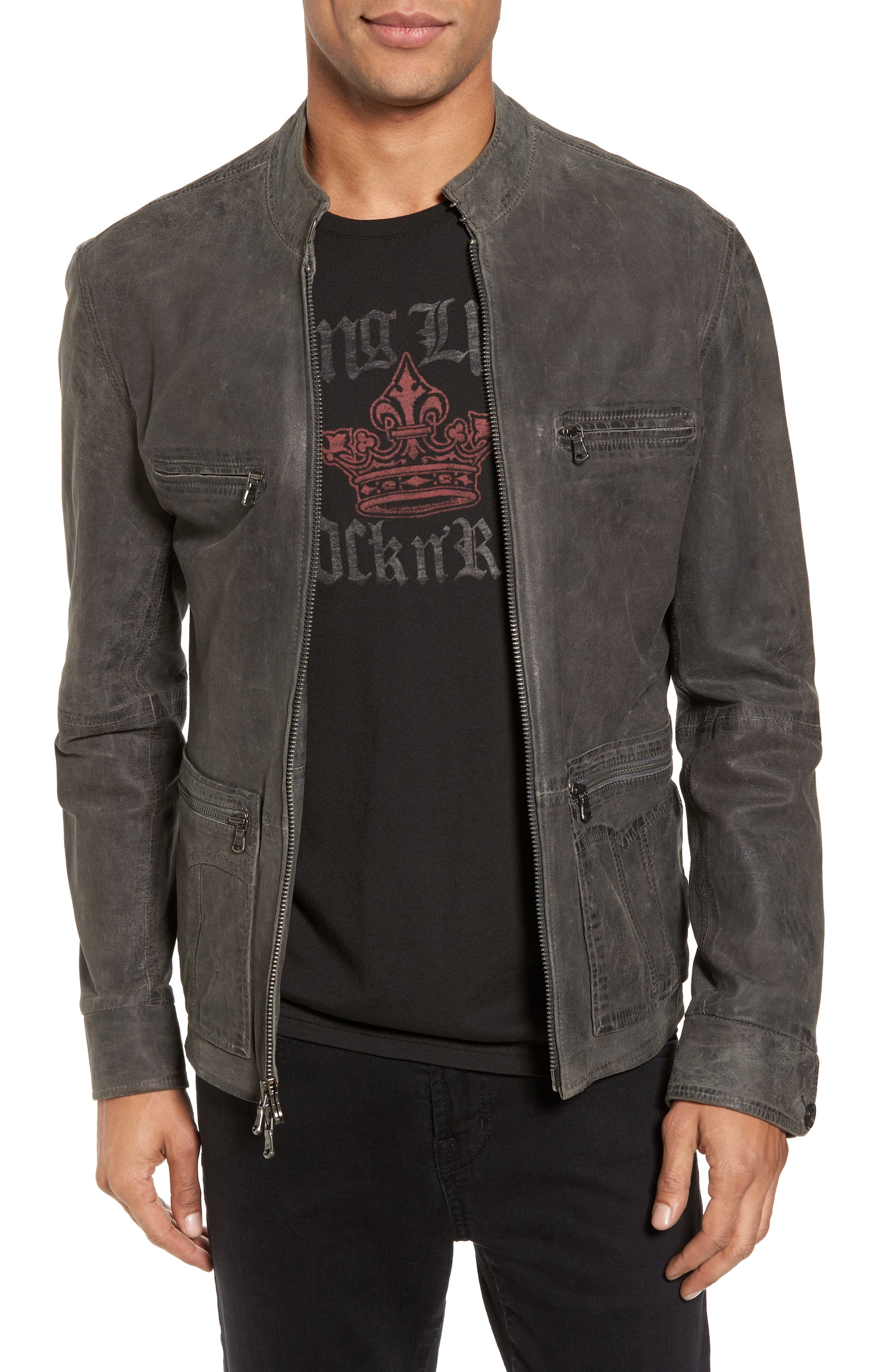 Leather Racer Jacket,                             Main thumbnail 1, color,                             Med Grey