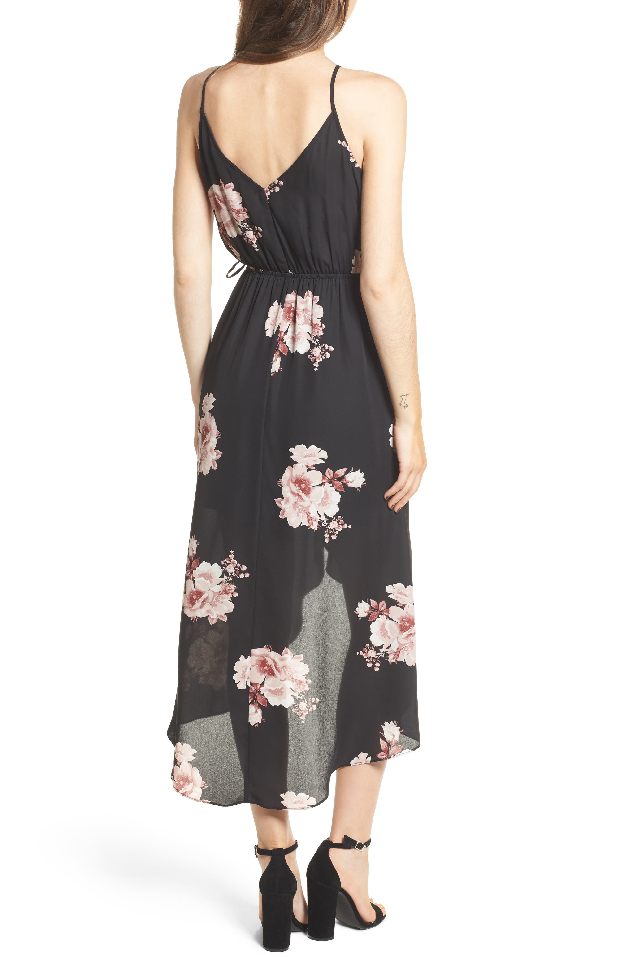Ruffle Surplice Dress,                             Alternate thumbnail 2, color,                             75 Black Mauve