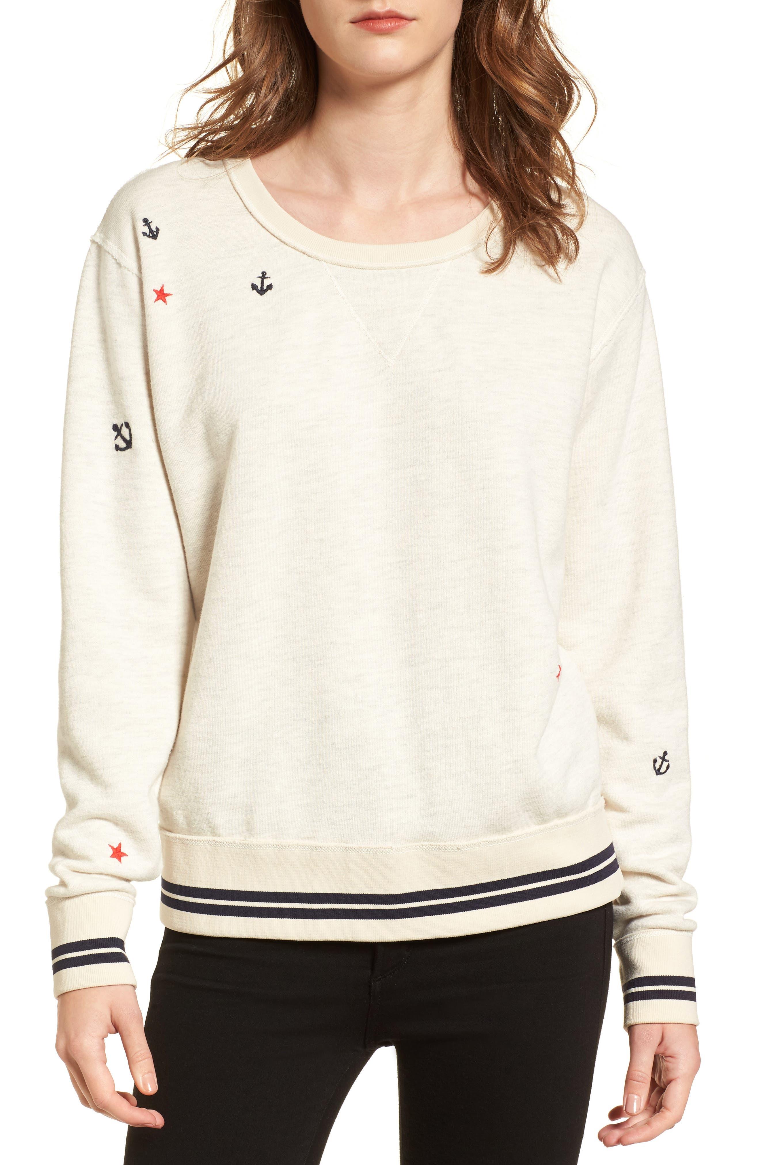 Nautical Sweatshirt,                         Main,                         color, Ecru Melange