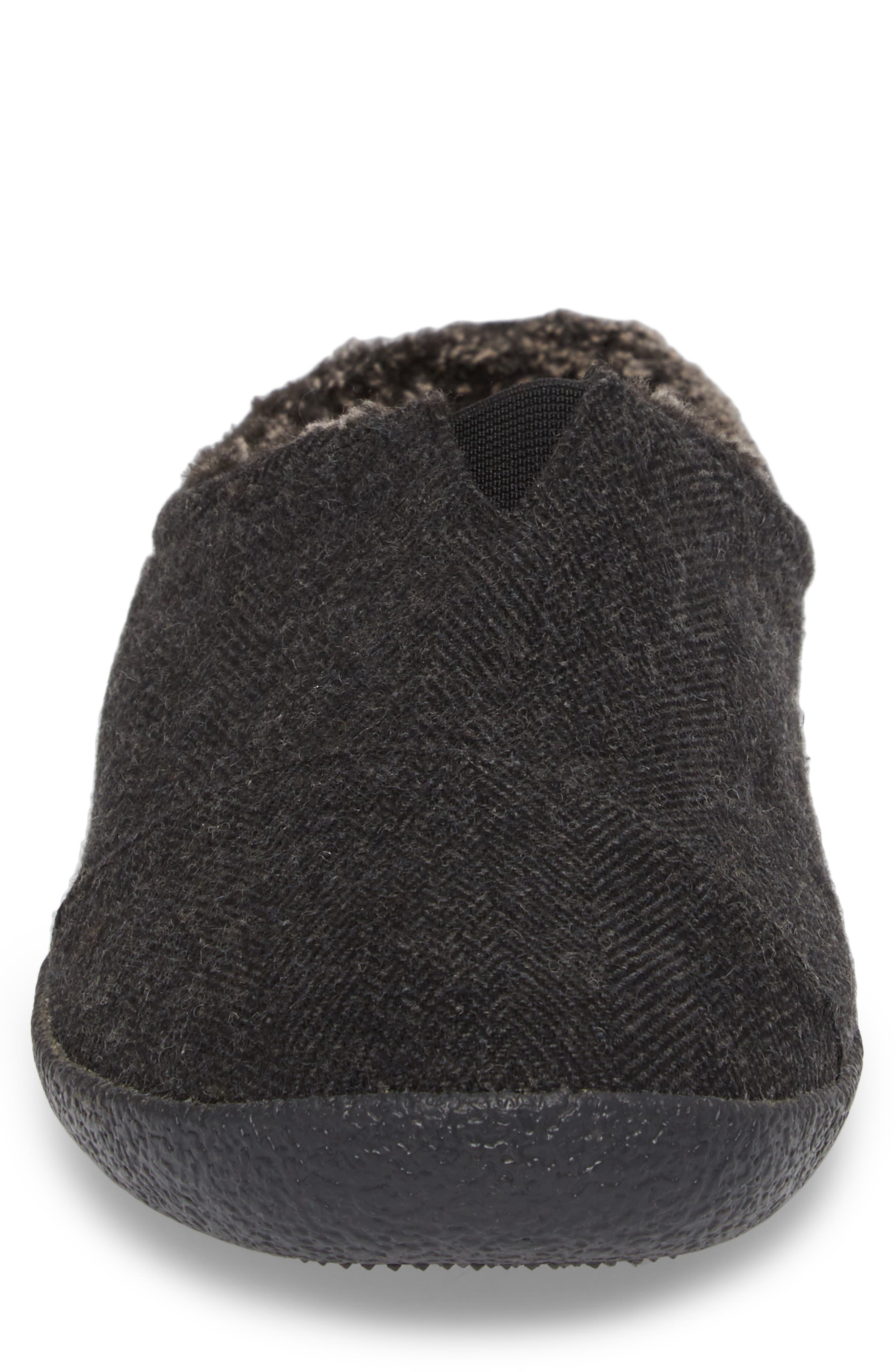 Berkeley Slipper with Faux Fur Lining,                             Alternate thumbnail 4, color,                             Black