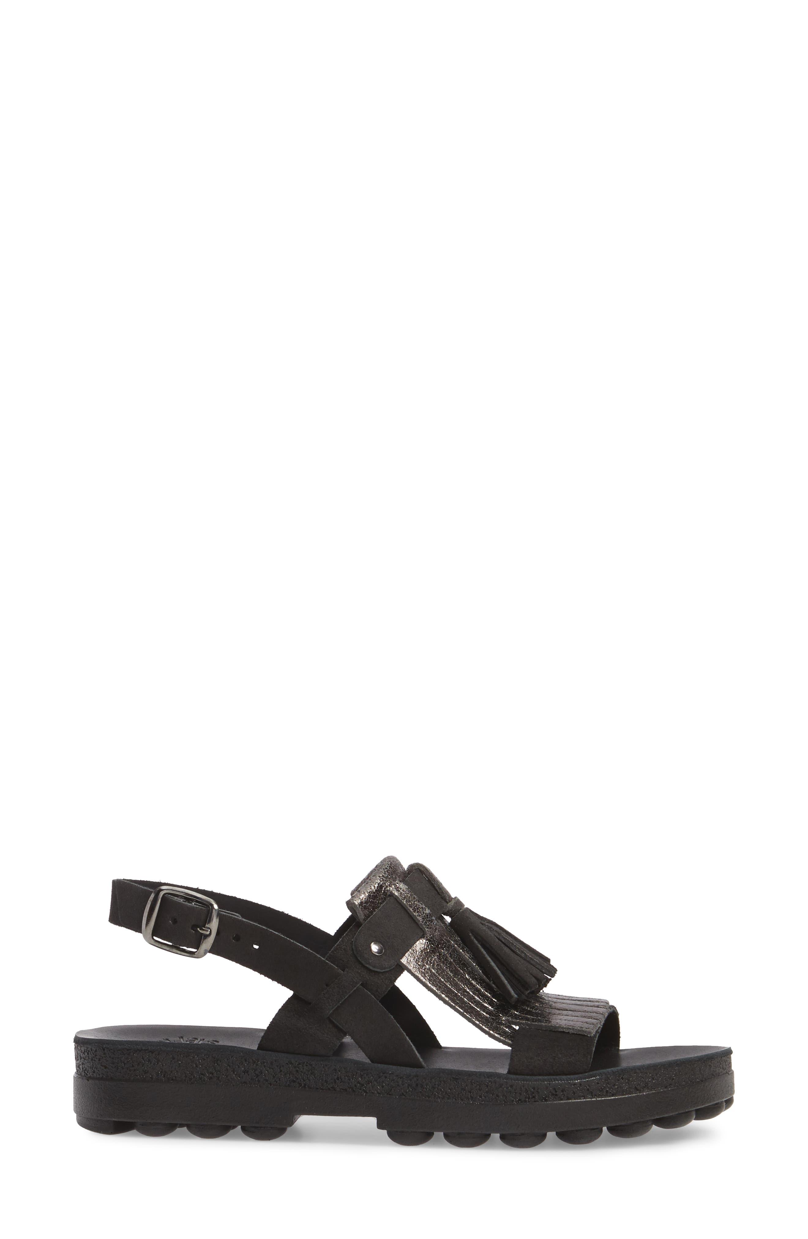 Anna Sandal,                             Alternate thumbnail 3, color,                             Black Glitter Leather