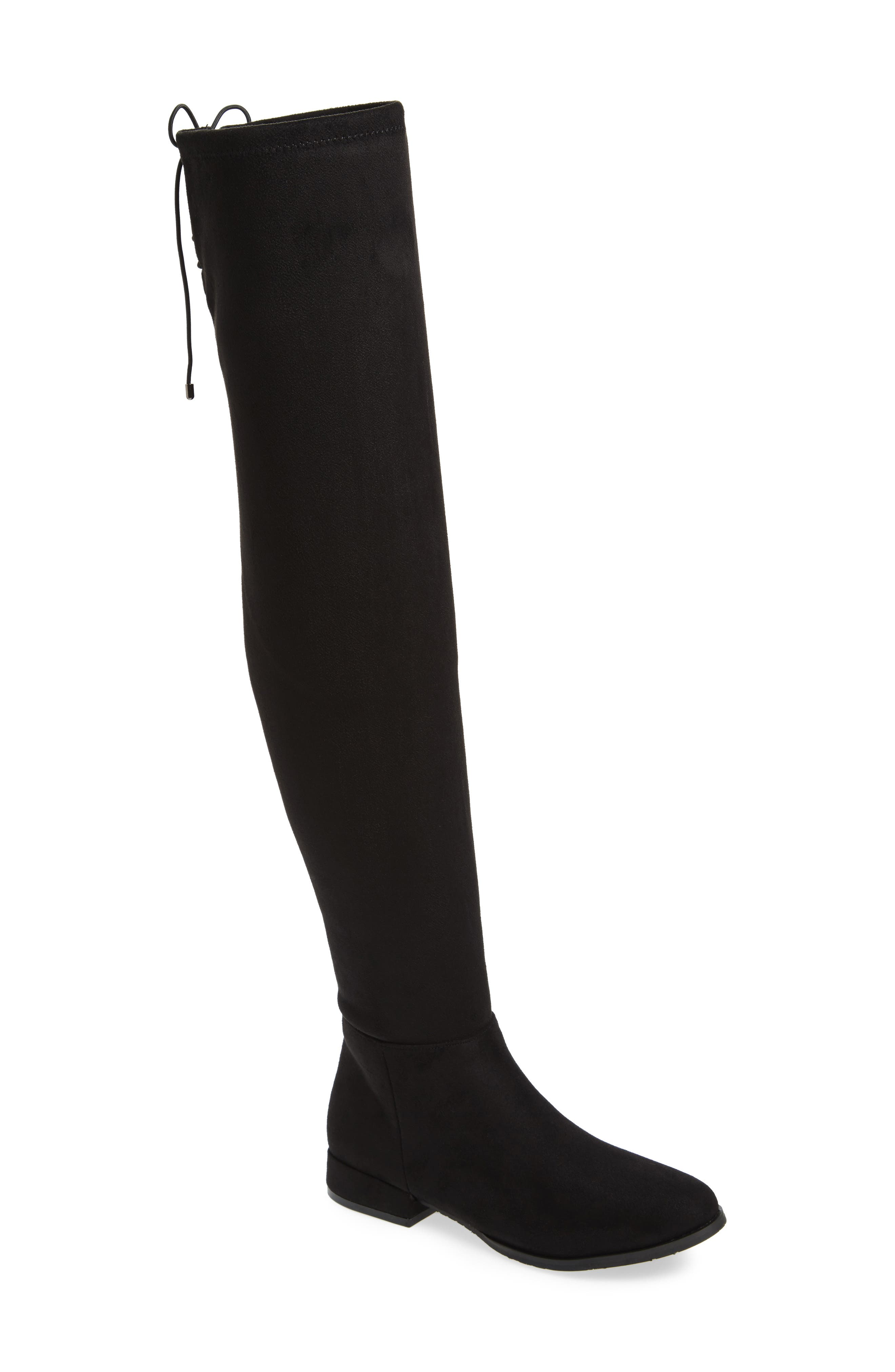 Rashelle Over the Knee Stretch Boot,                             Main thumbnail 1, color,                             Black Suede
