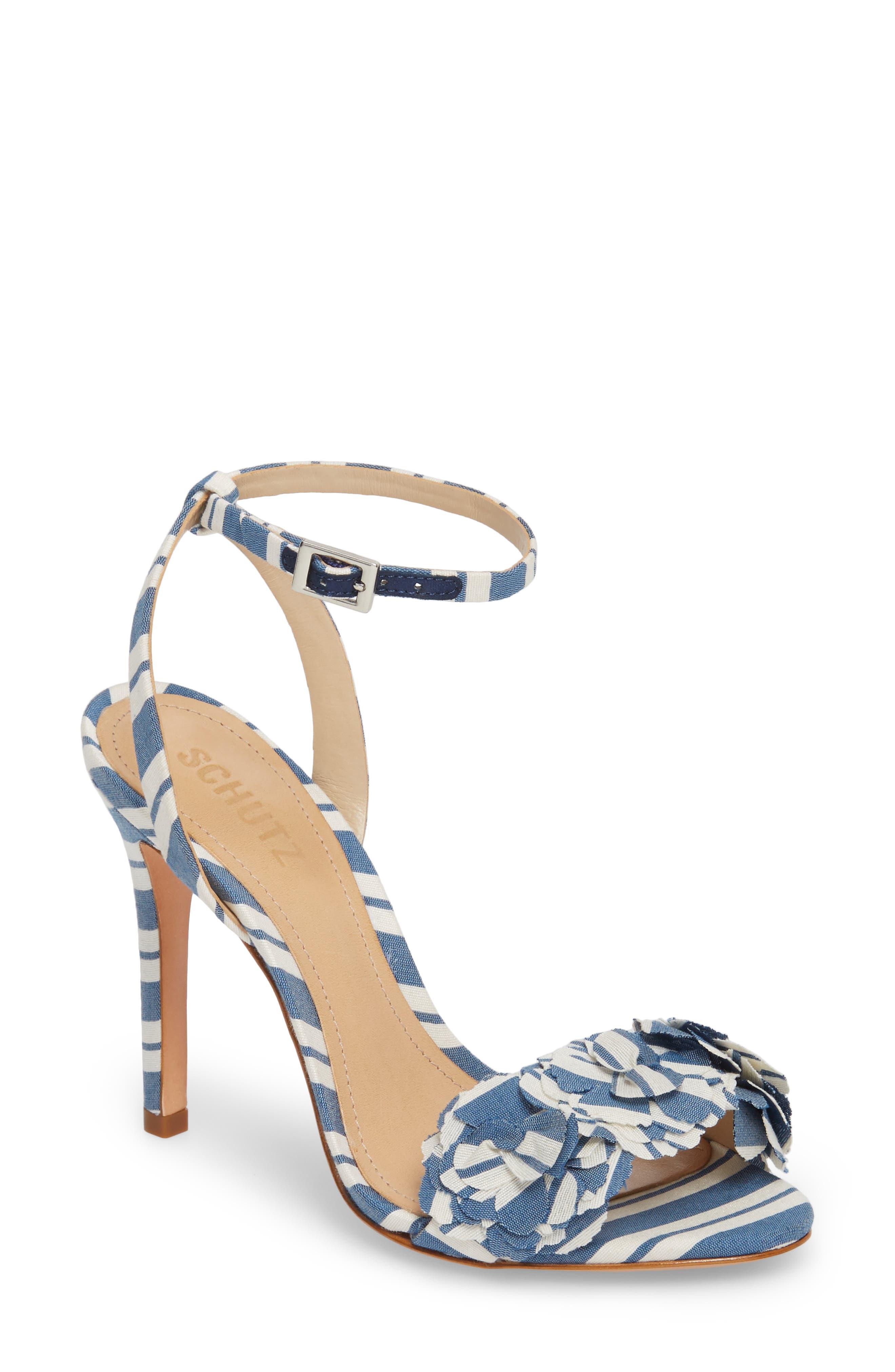 Aida Flower Appliqué Sandal,                             Main thumbnail 1, color,                             Dress Blue