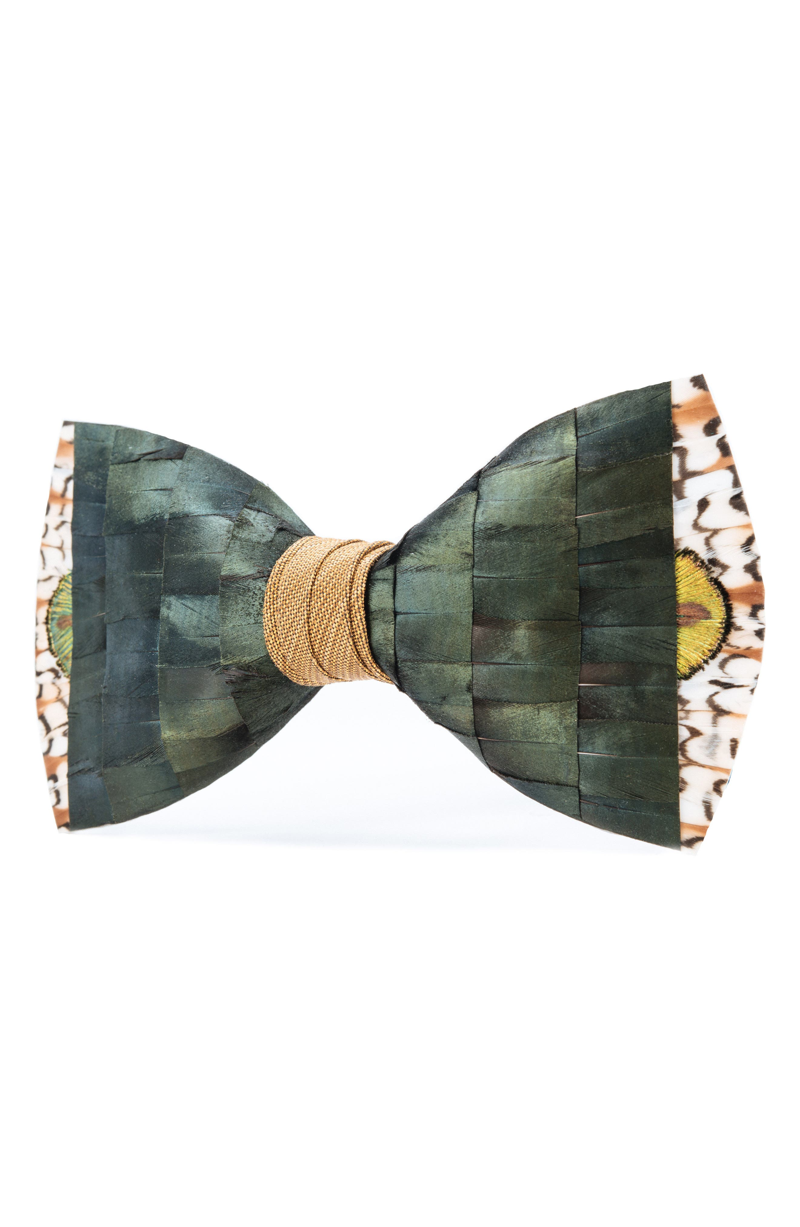 Brackish & Bell Lowry Feather Bow Tie,                             Alternate thumbnail 4, color,                             Green