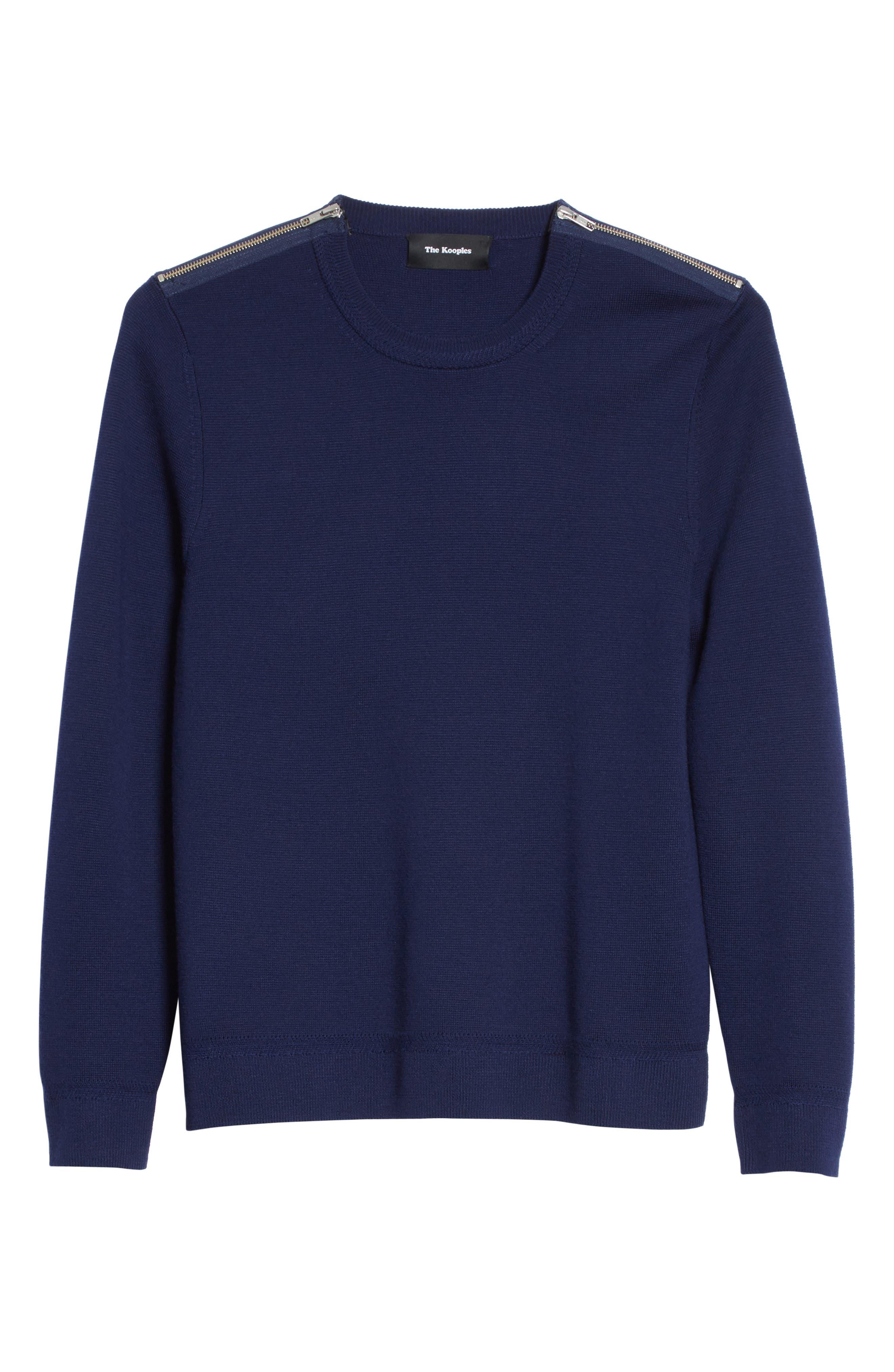 Merino Wool Blend Sweater with Shoulder Zip Trim,                             Alternate thumbnail 6, color,                             Navy
